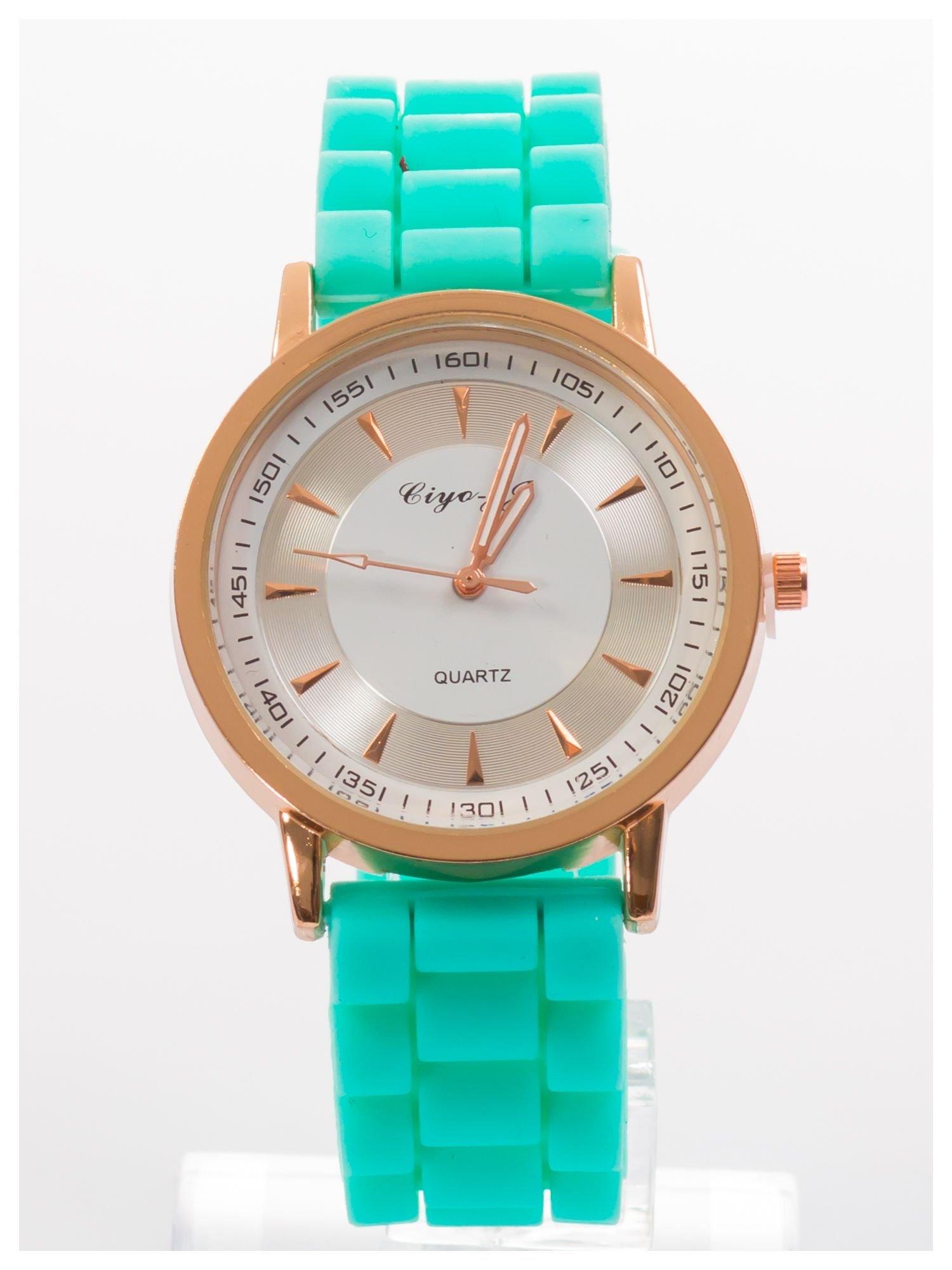 Nowoczesny i elegancki damski zegarek na wygodnym silikonowym pasku. Doskonały na każdą okazję.                                   zdj.                                  1