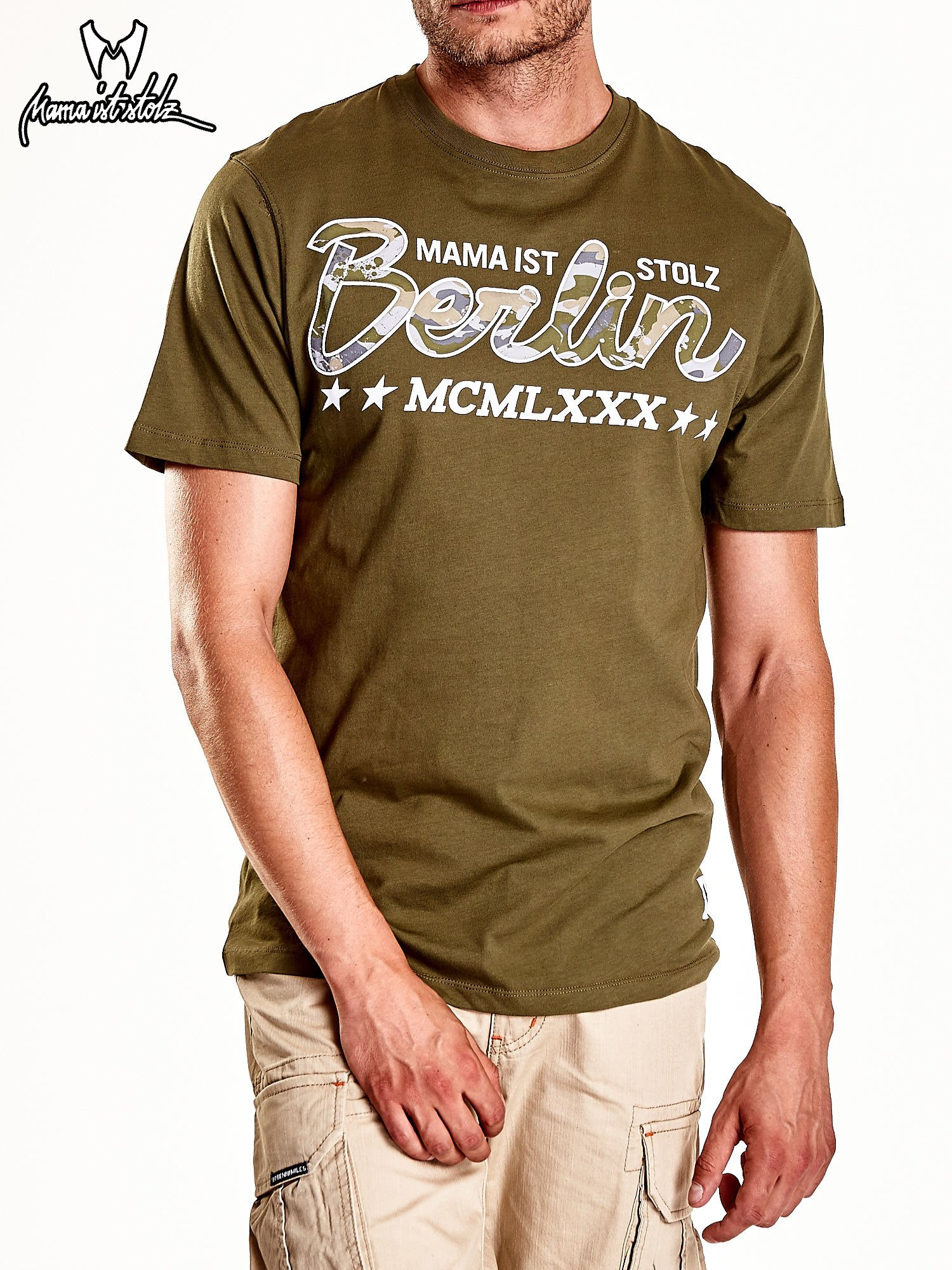 Oliwkowy t-shirt męski z nadrukiem moro                                  zdj.                                  4