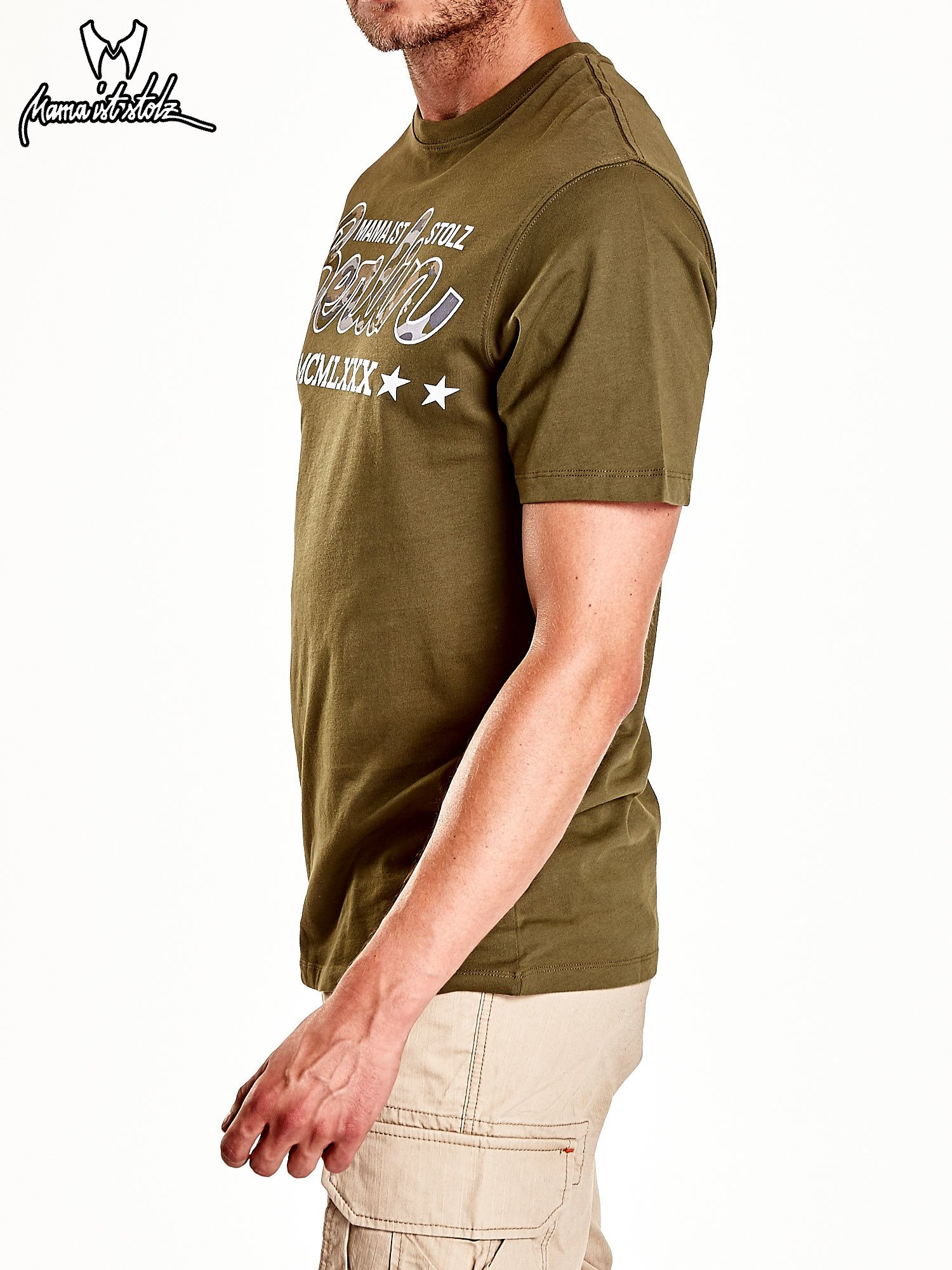 Oliwkowy t-shirt męski z nadrukiem moro                                  zdj.                                  6
