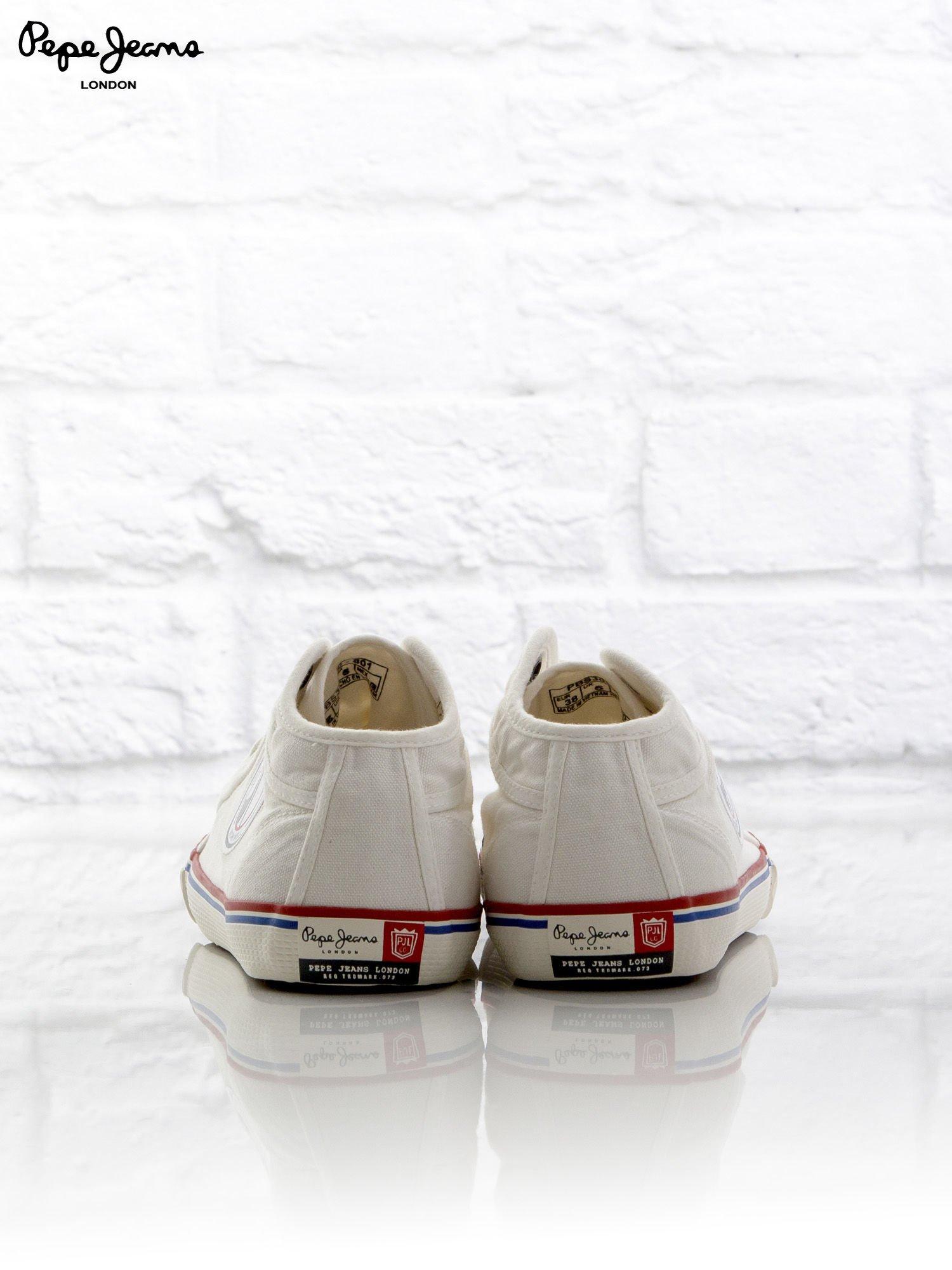 1ca04ea1e465c PEPE JEANS Białe trampki z kolorową lamówką przy podeszwie - Buty ...