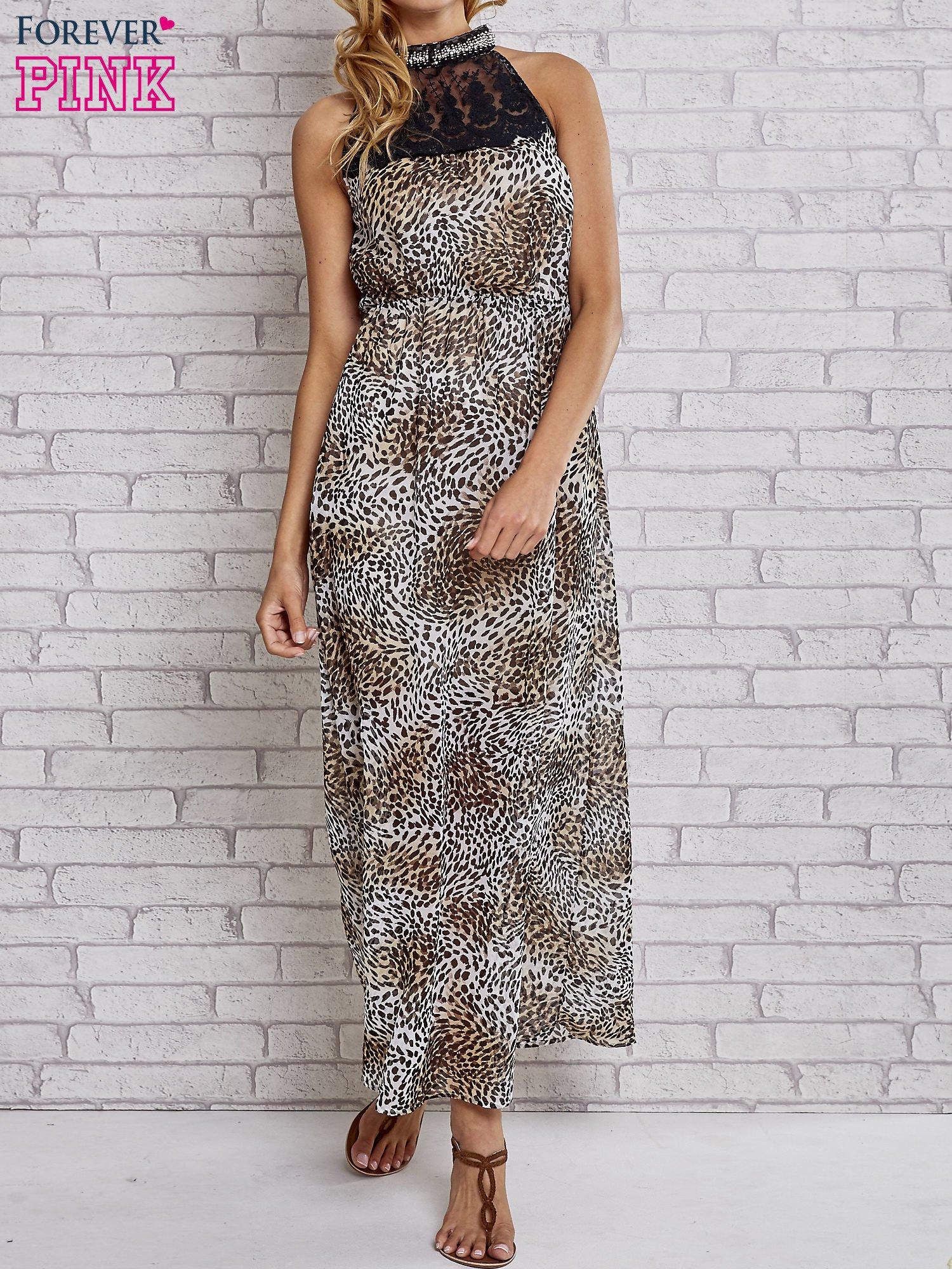 Panterkowa sukienka maxi z koronkowym półgolfem                                  zdj.                                  1