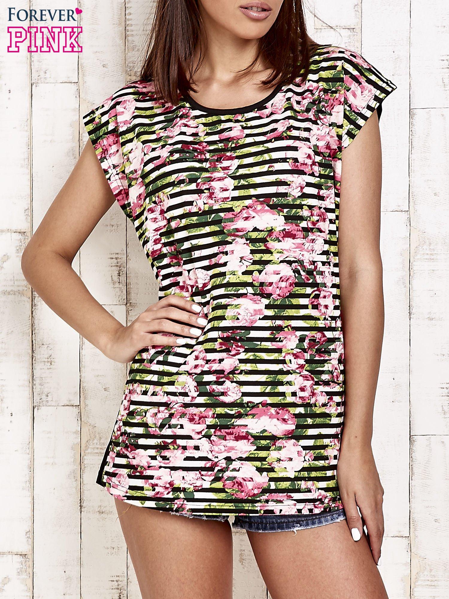 Pasiasty t-shirt w kwiaty                                  zdj.                                  1