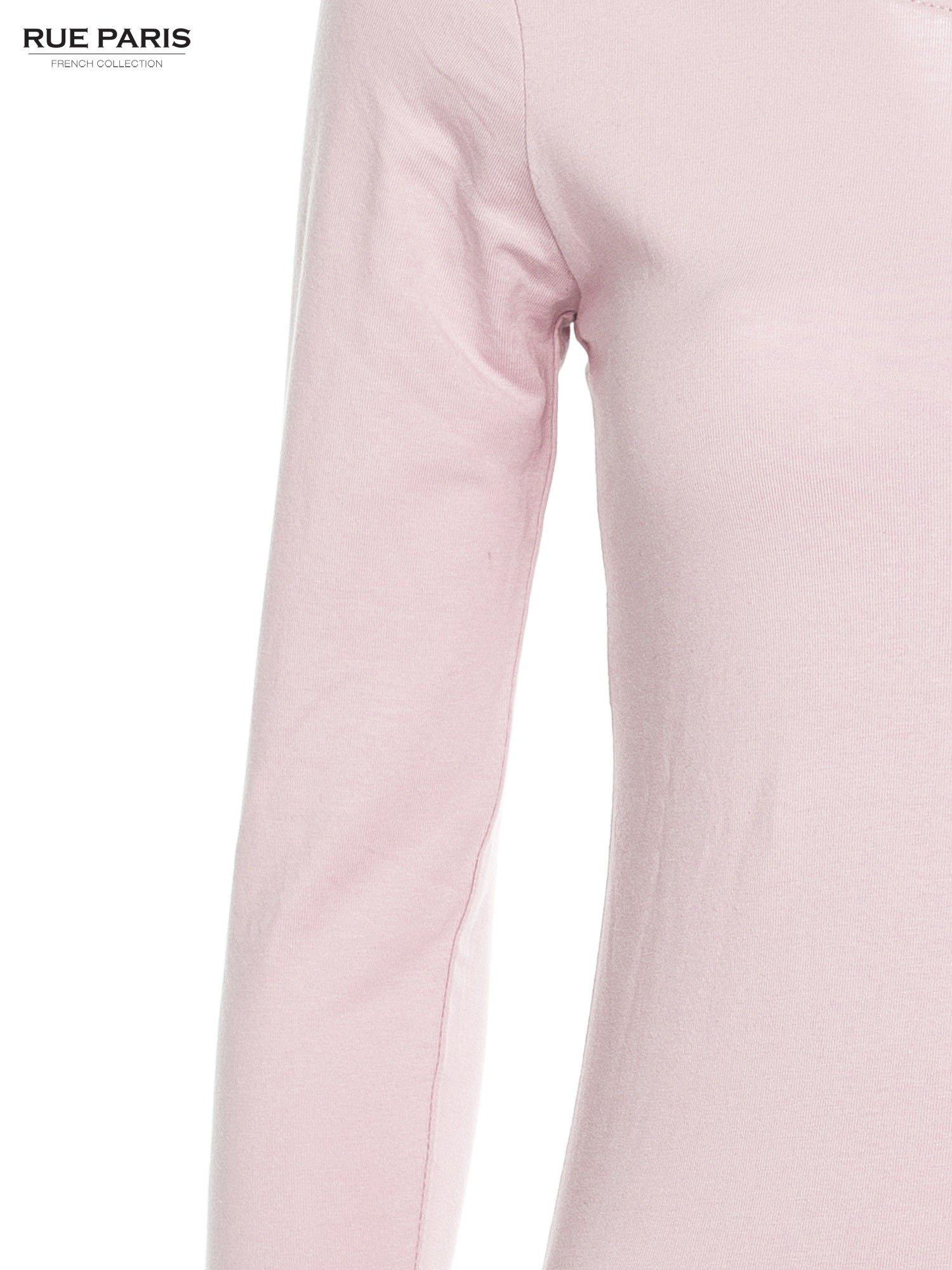 Pasteloworóżowa gładka bluzka z rękawem 3/4                                  zdj.                                  5
