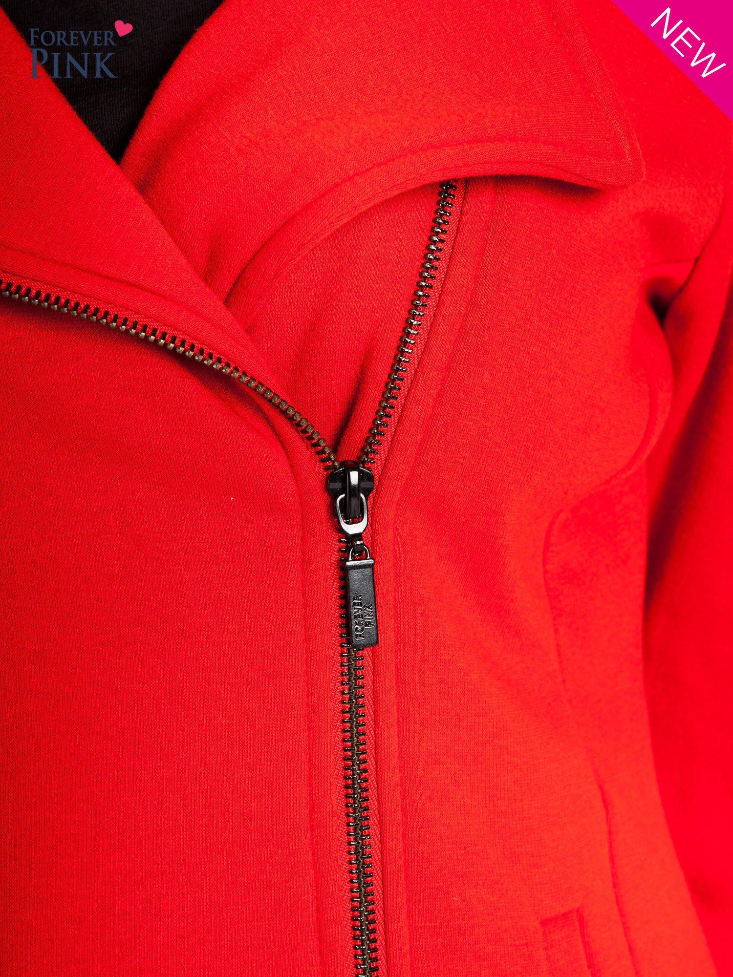 Pomarańczowa bluza o kroju ramoneski z asymetrycznym suwakiem                                  zdj.                                  6