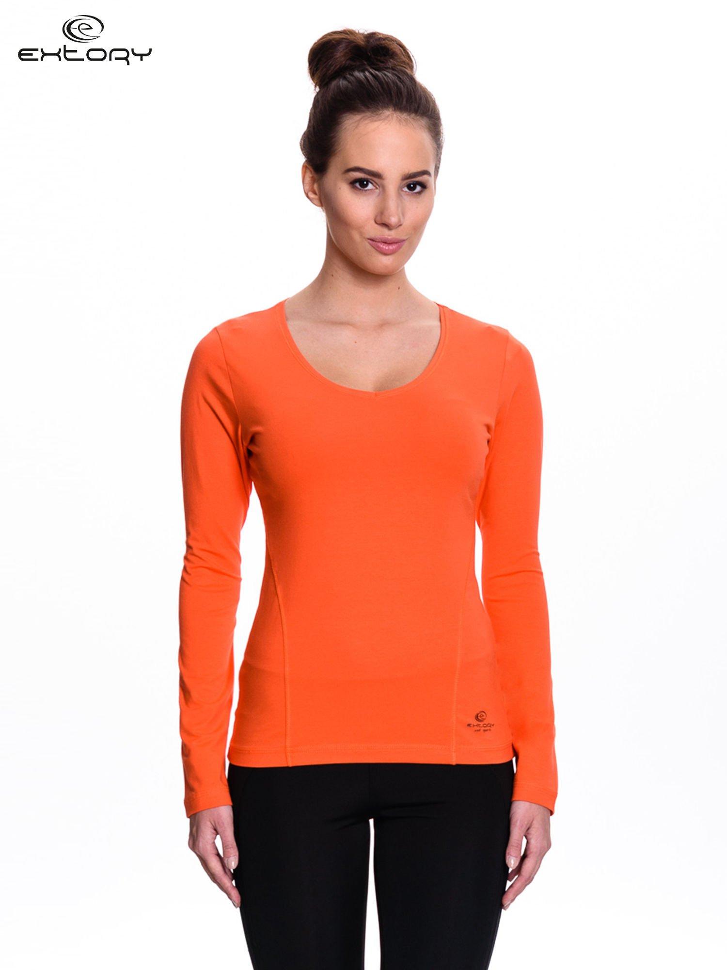 Pomarańczowa bluzka sportowa z dekoltem V                                  zdj.                                  1