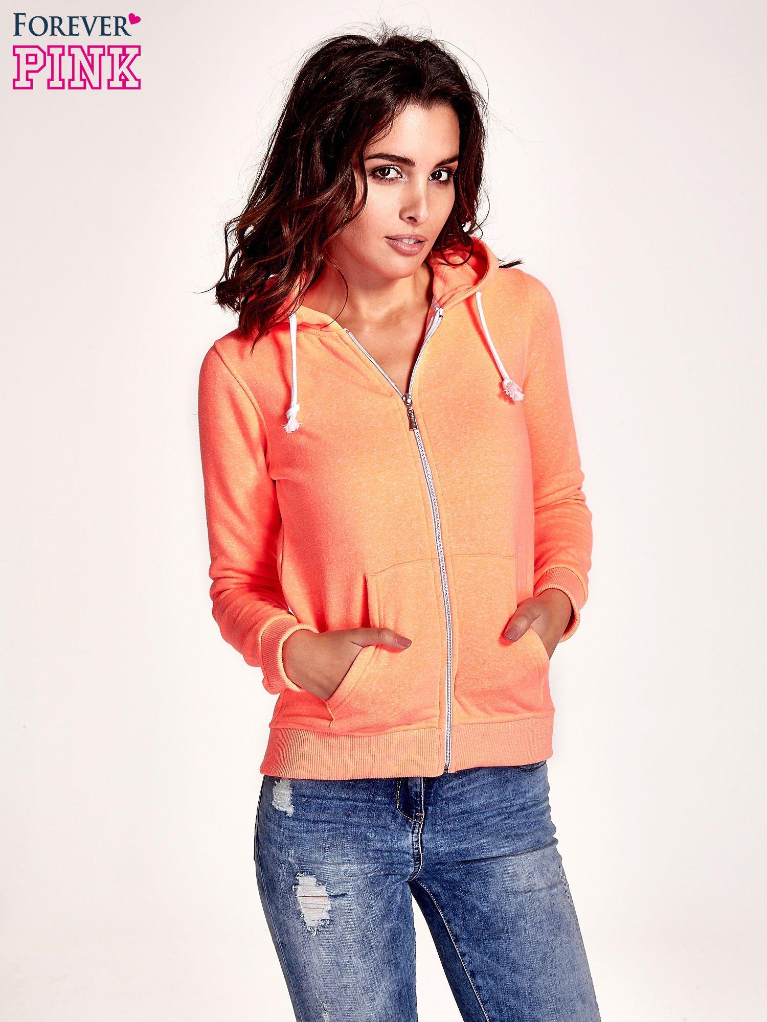 Pomarańczowa gładka bluza z kapturem                                  zdj.                                  1