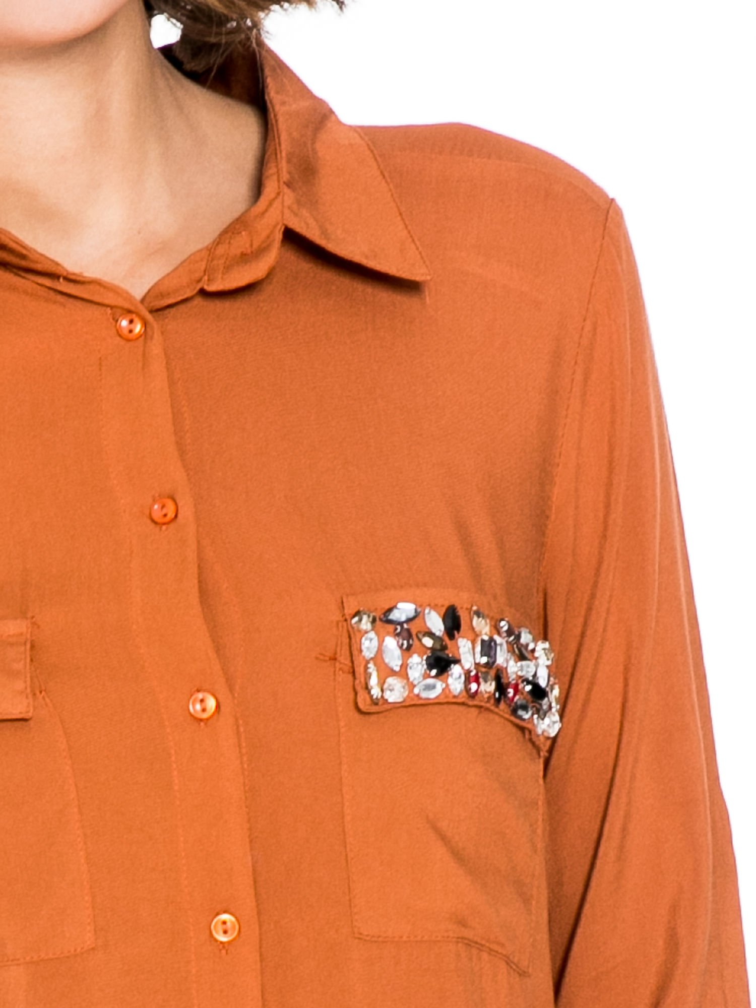 Pomarańczowa koszula z biżuteryjną kieszonką                                  zdj.                                  6