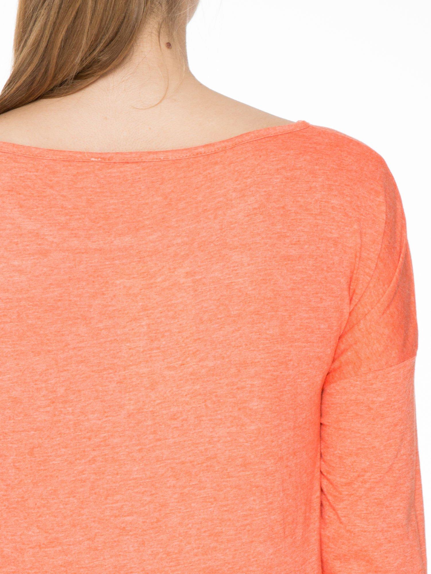 Pomarańczowa luźna bluzka z rękawem 3/4                                  zdj.                                  5