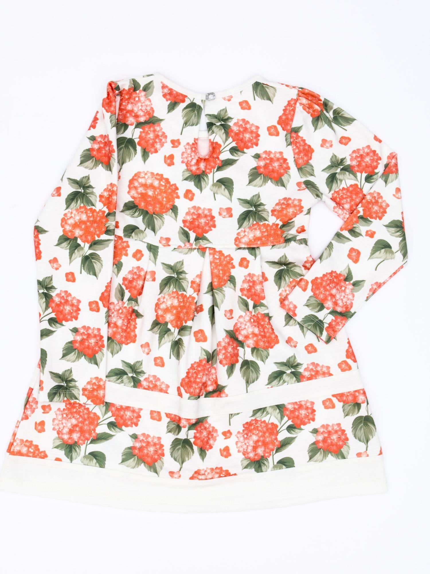 b2c3078cae 1  Pomarańczowa sukienka dla dziewczynki w kwiaty z tiulową aplikacją ...