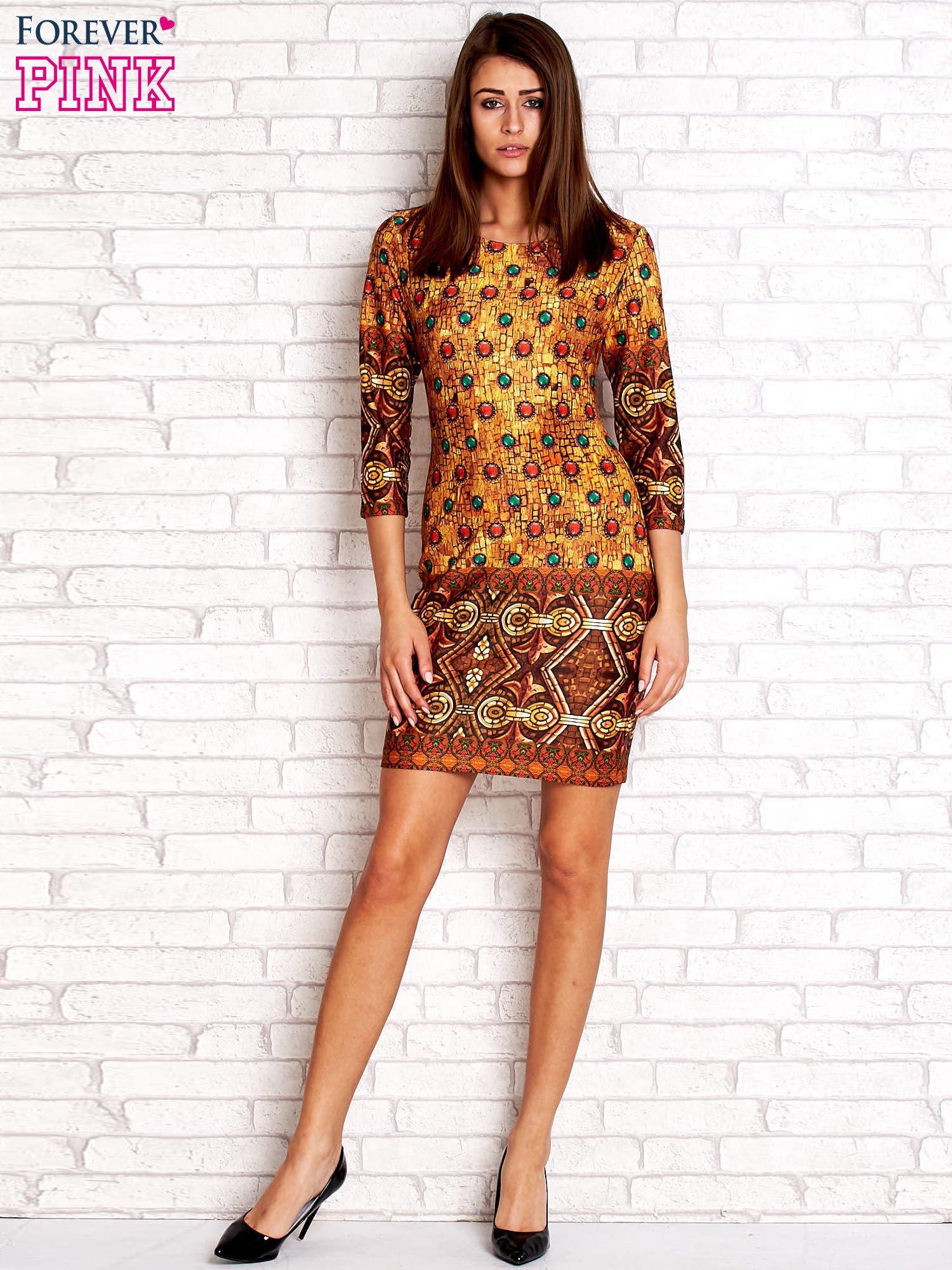 Pomarańczowa sukienka z folkowym nadrukiem                                  zdj.                                  4