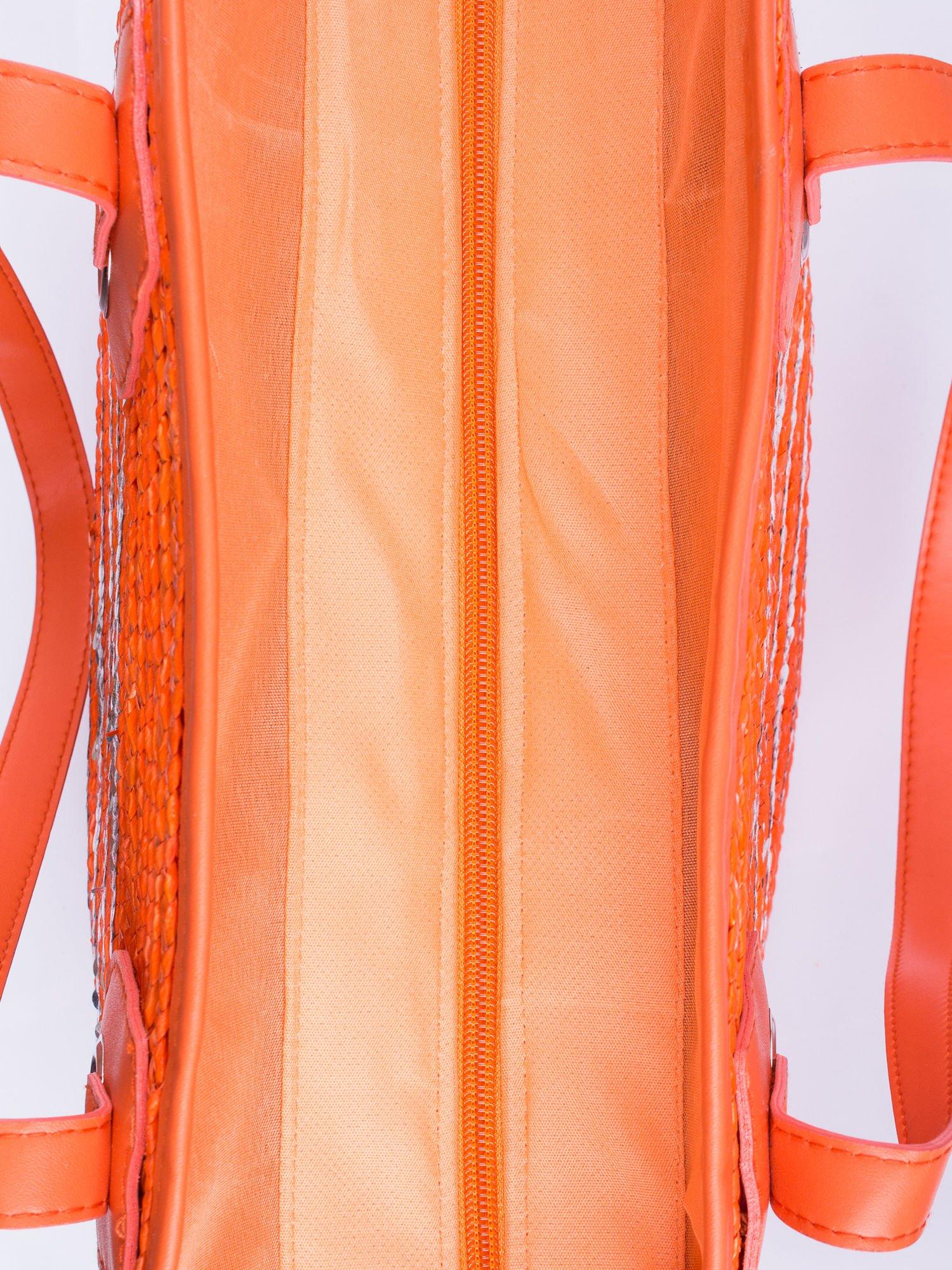 Pomarańczowa torba koszyk plażowy z cekinami                                  zdj.                                  5