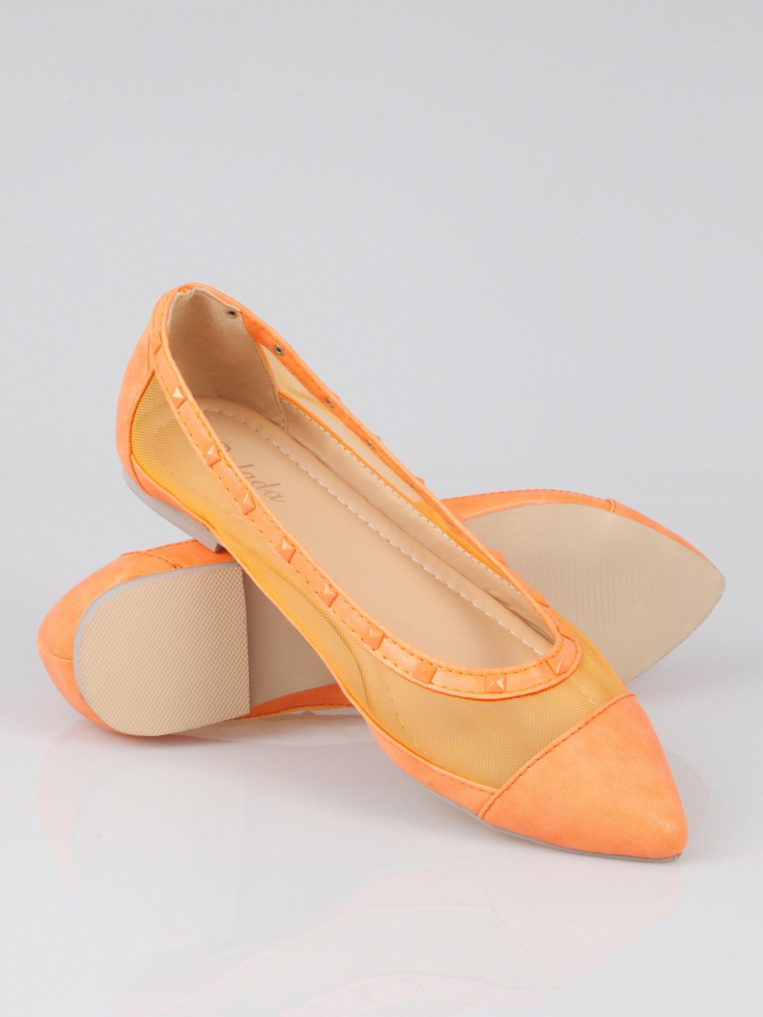 Pomarańczowe baleriny Crystal leather z siateczką i ćwiekami                                  zdj.                                  3