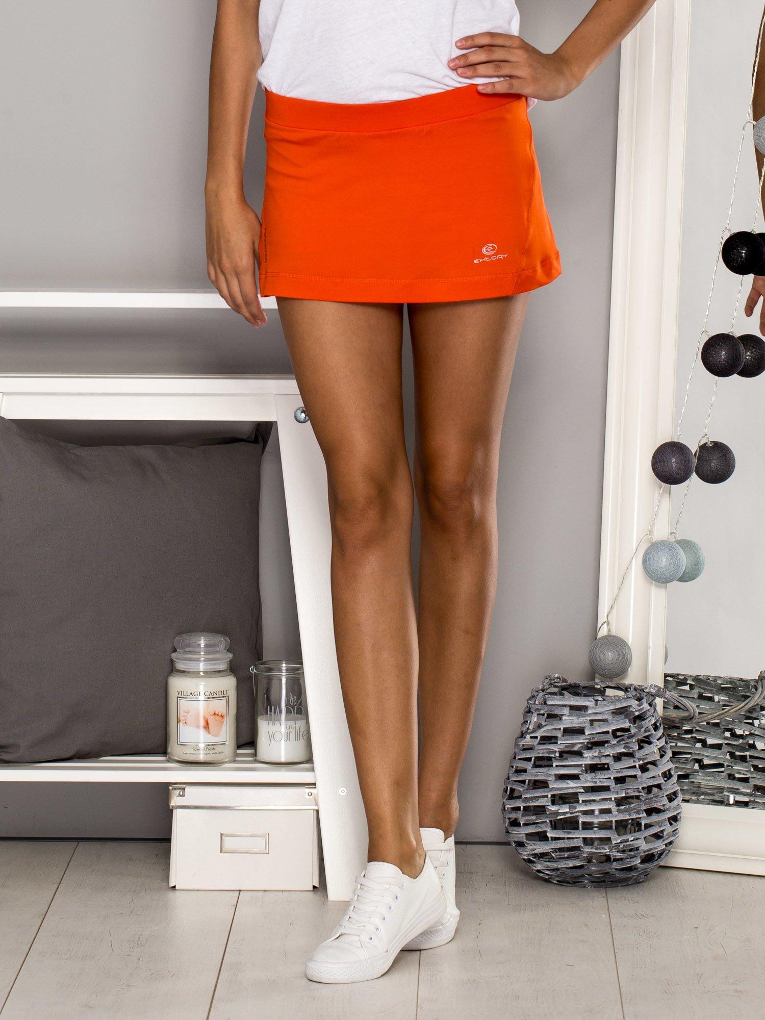 Pomarańczowe gładkie spodenki spódniczka tenisowa                                   zdj.                                  1