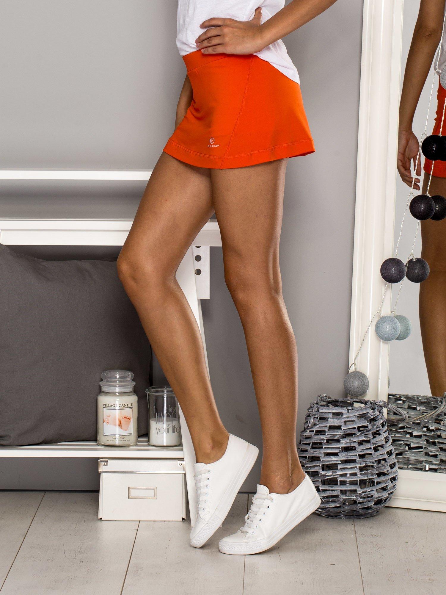Pomarańczowe gładkie spodenki spódniczka tenisowa                                   zdj.                                  4