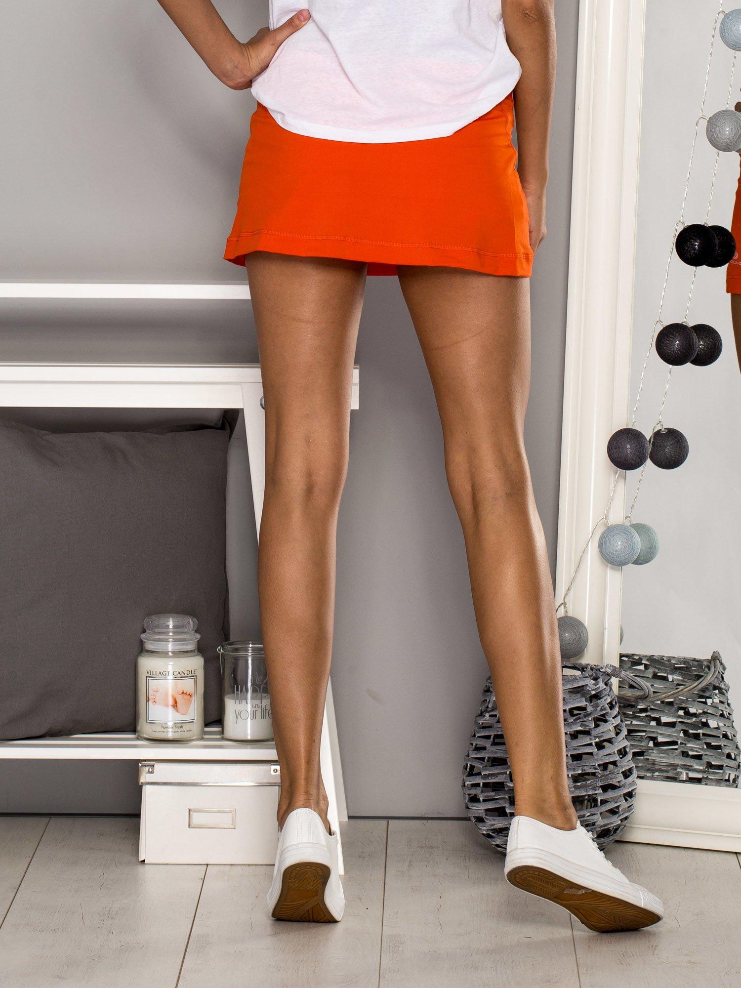 Pomarańczowe gładkie spodenki spódniczka tenisowa                                   zdj.                                  5