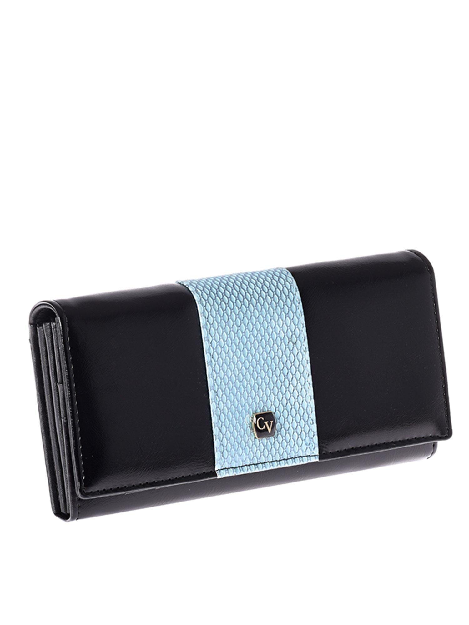 006970bee49a5 Portfel damski ze skóry z niebieskim modułem - Akcesoria portfele ...