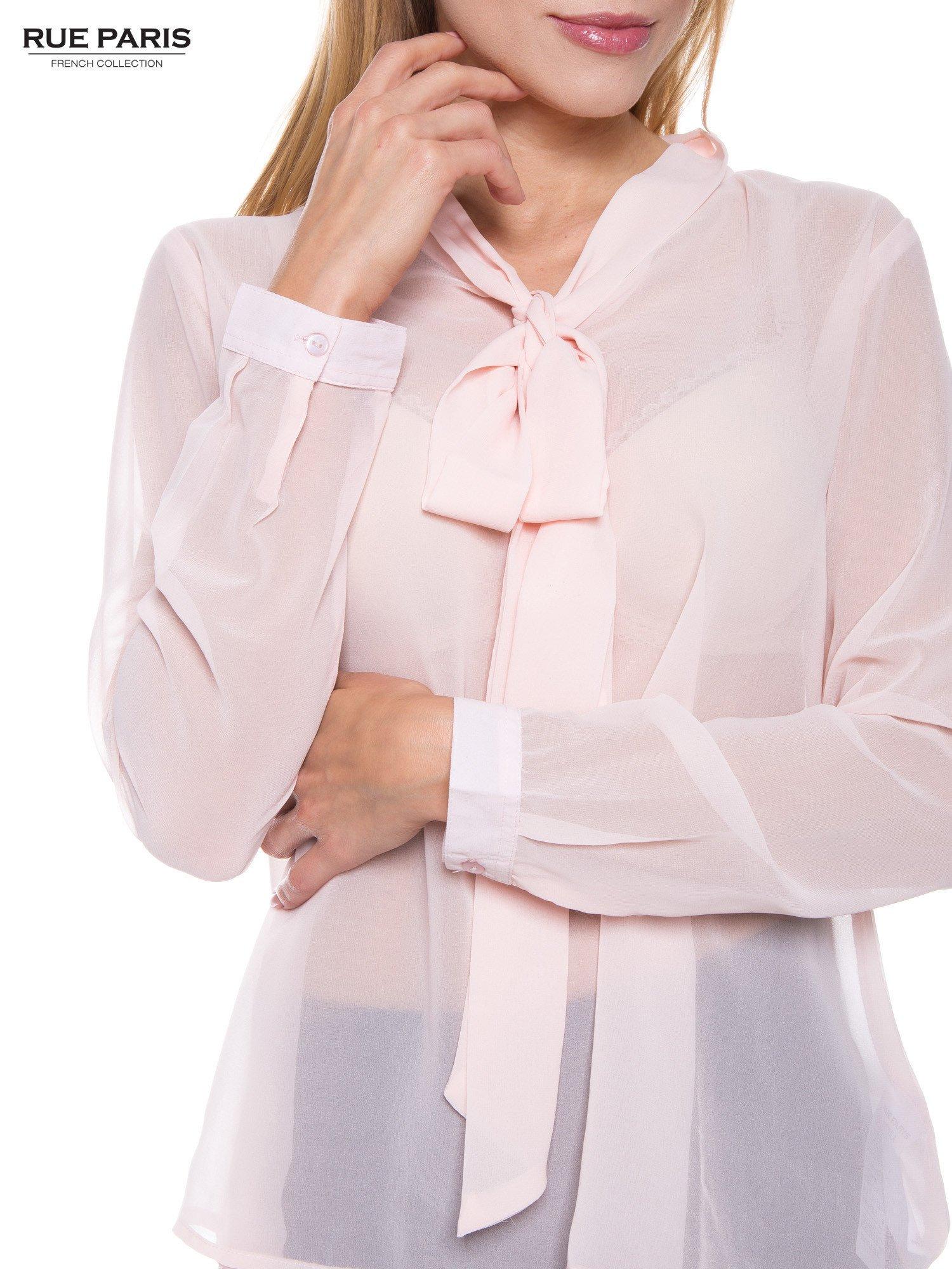 Pudroworóżowa koszula mgiełka z kokardą                                  zdj.                                  5
