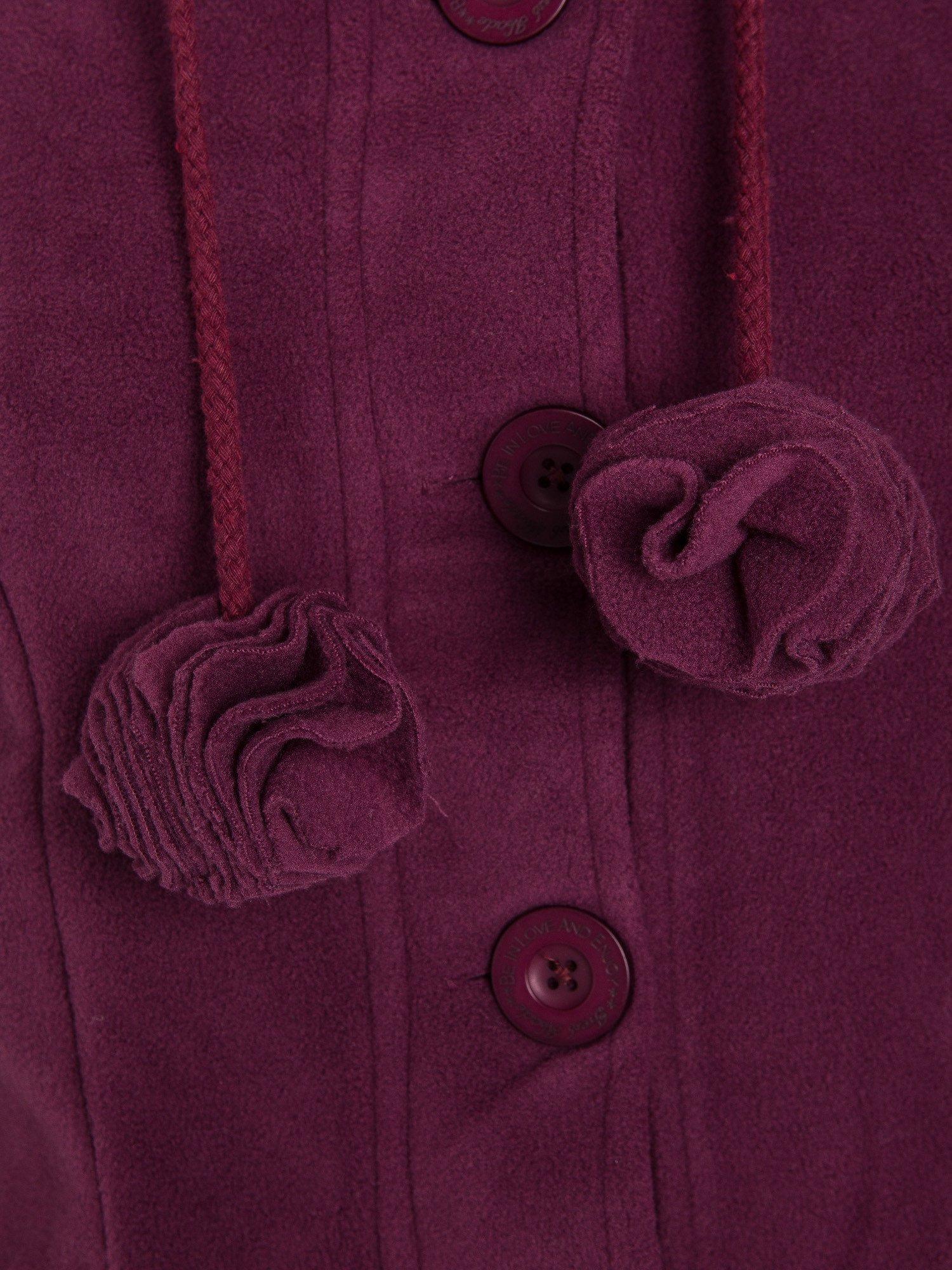 Purpurowa polarowa bluza z kapturem z uszkami                                  zdj.                                  5
