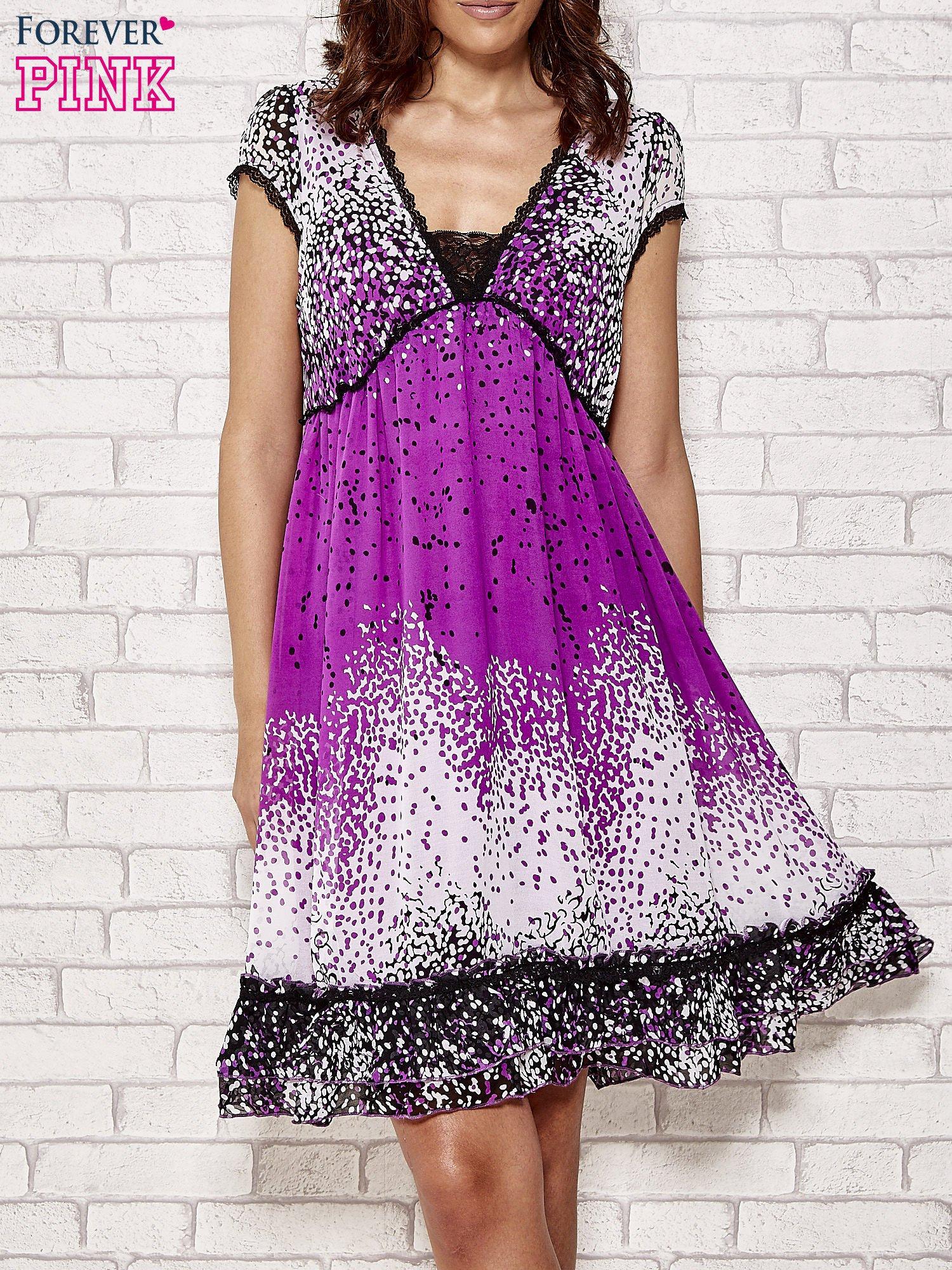 Purpurowa sukienka baby doll w ciapki                                  zdj.                                  1