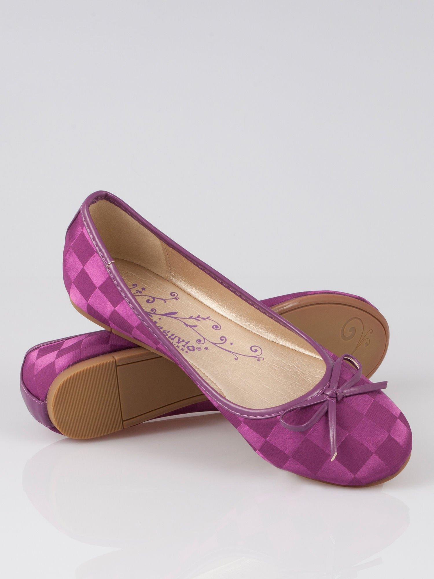 Purpurowe baleriny Satin Check z motywem szachownicy                                  zdj.                                  3