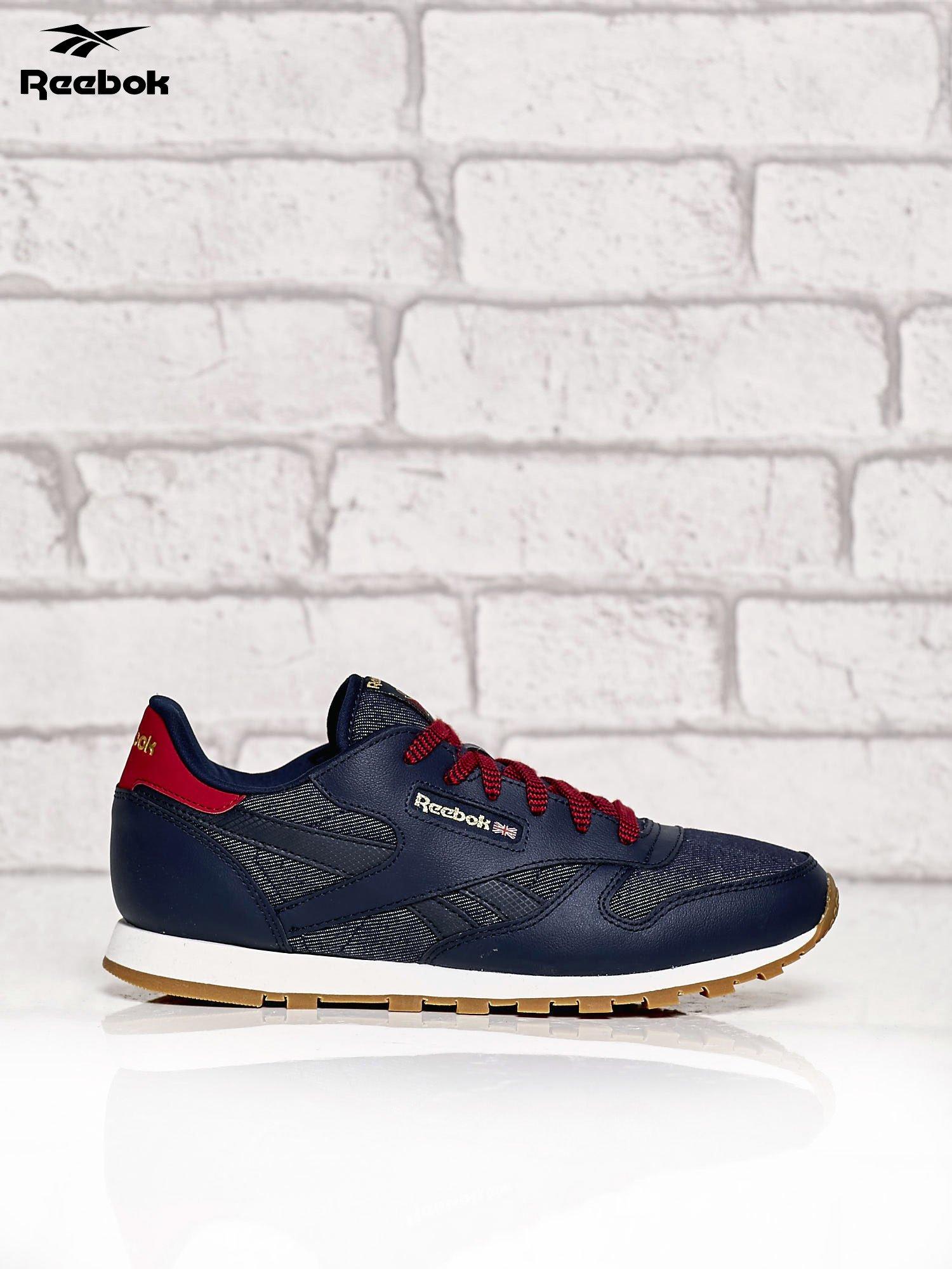 77919b5b40084 reebok damskie REEBOK granatowe sneakersy damskie Classic Leather DG z  kolorowymi .