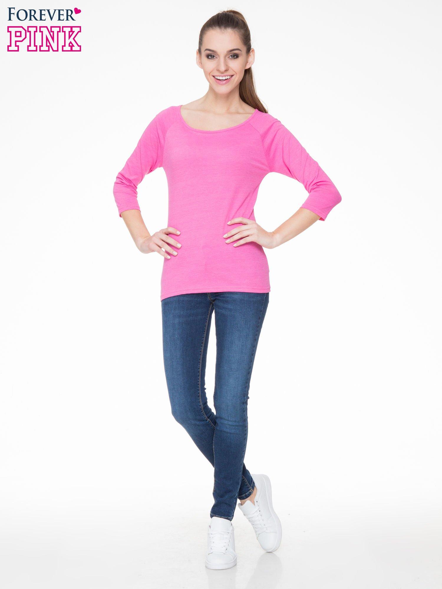 Różowa basicowa gładka bluzka z rękawem 7/8                                  zdj.                                  2
