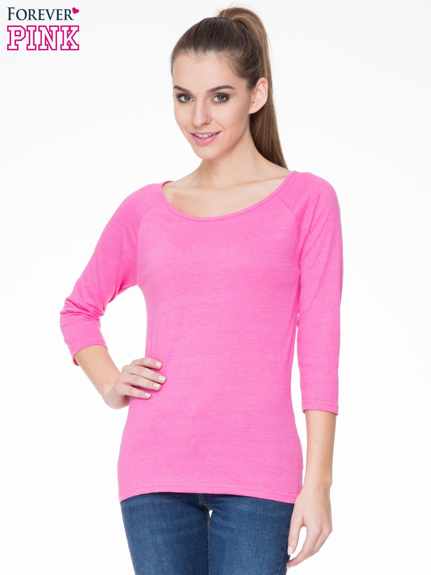 Różowa basicowa gładka bluzka z rękawem 7/8                                  zdj.                                  1