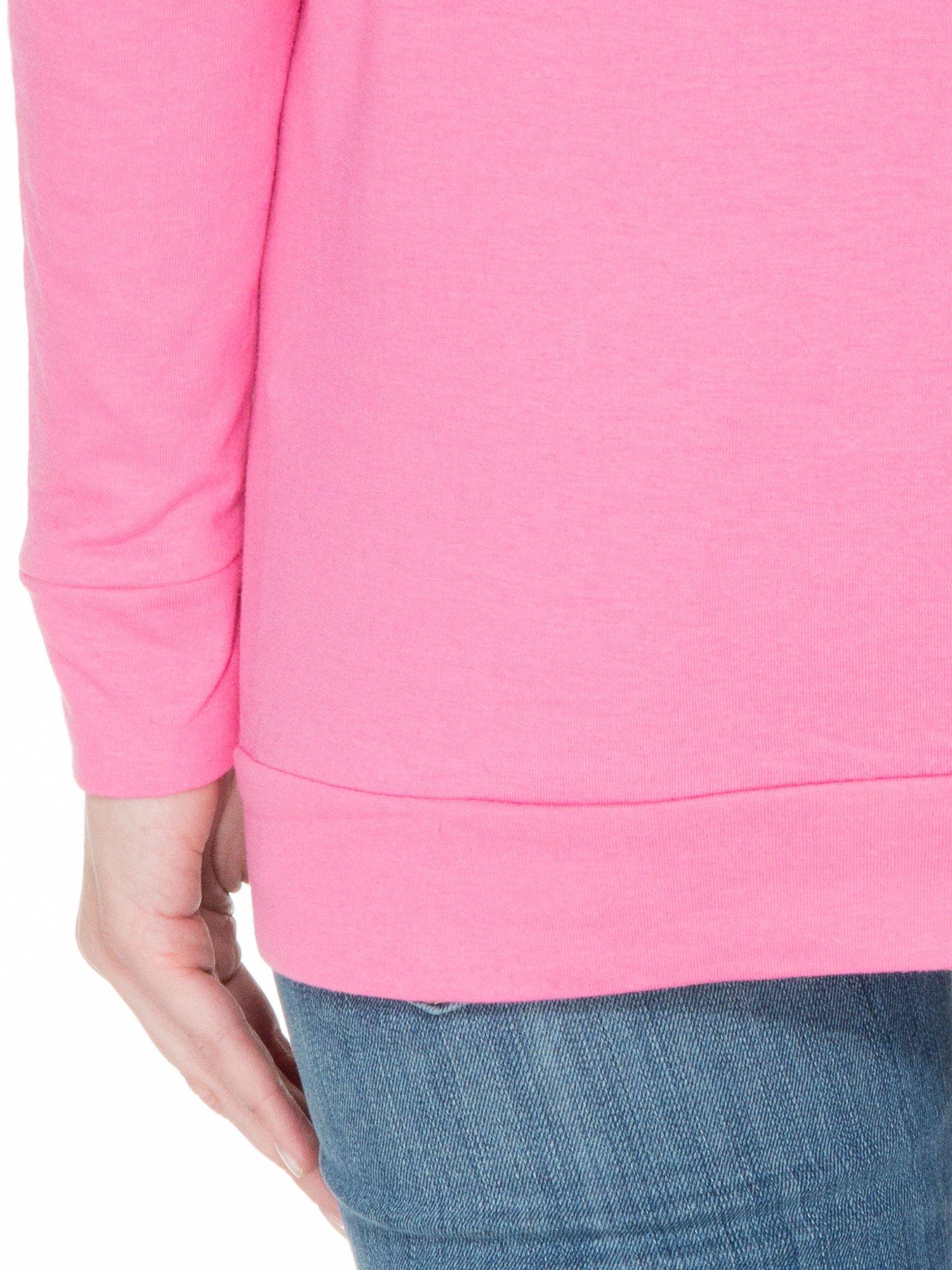 Różowa bawełniana bluzka z rękawami typu reglan                                  zdj.                                  8
