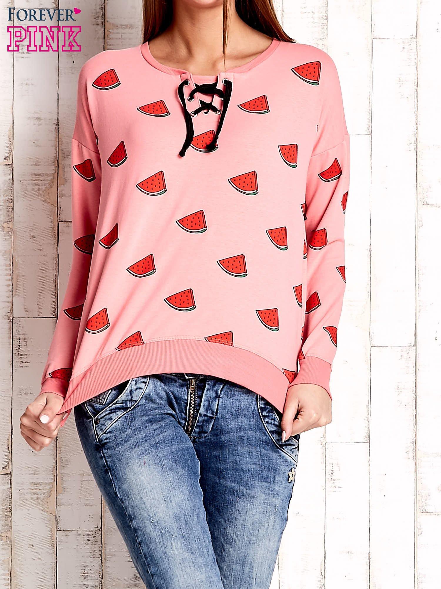 Różowa bluza w arbuzy z wiązaniem                                  zdj.                                  1