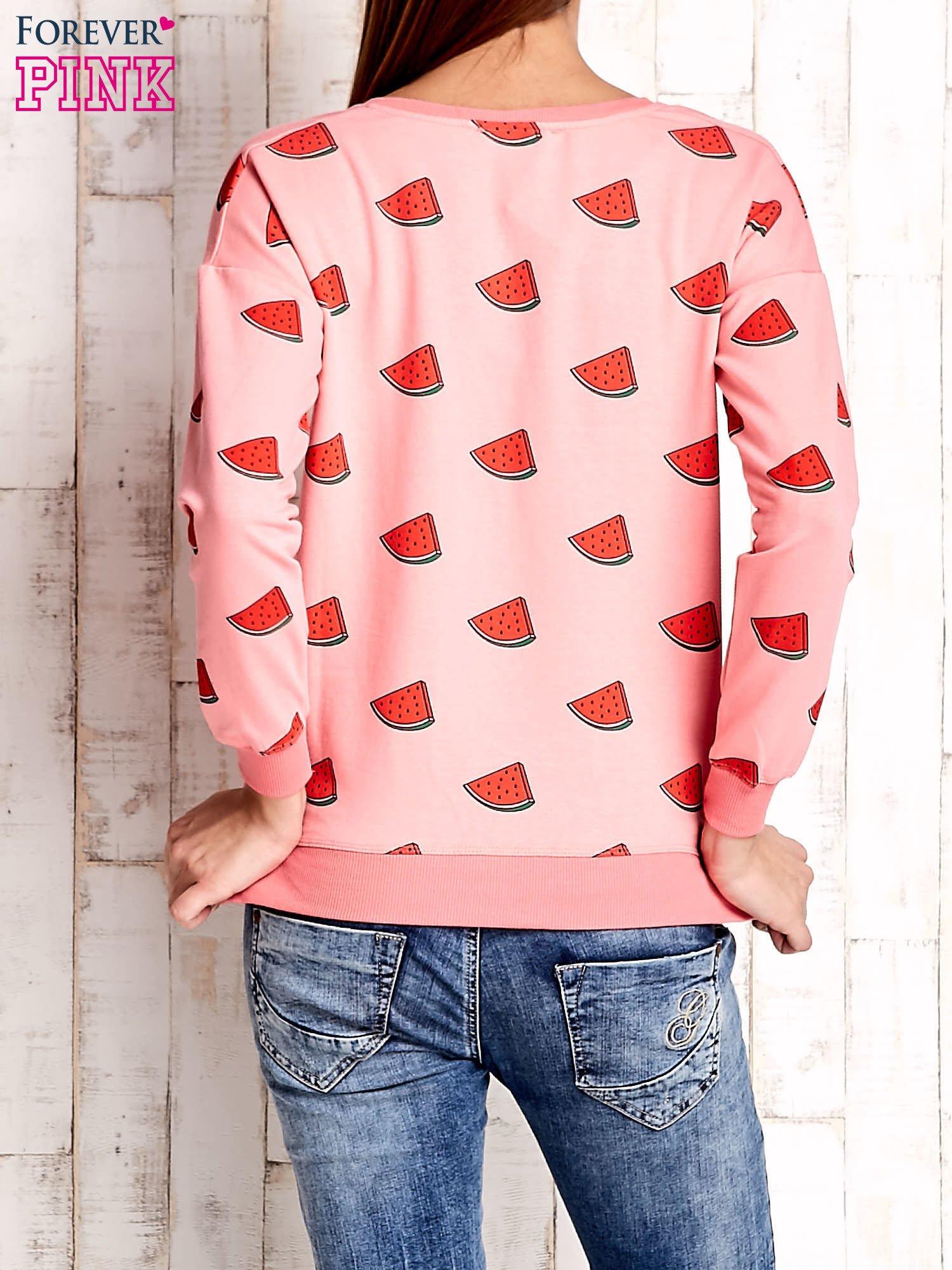 Różowa bluza w arbuzy z wiązaniem                                  zdj.                                  4