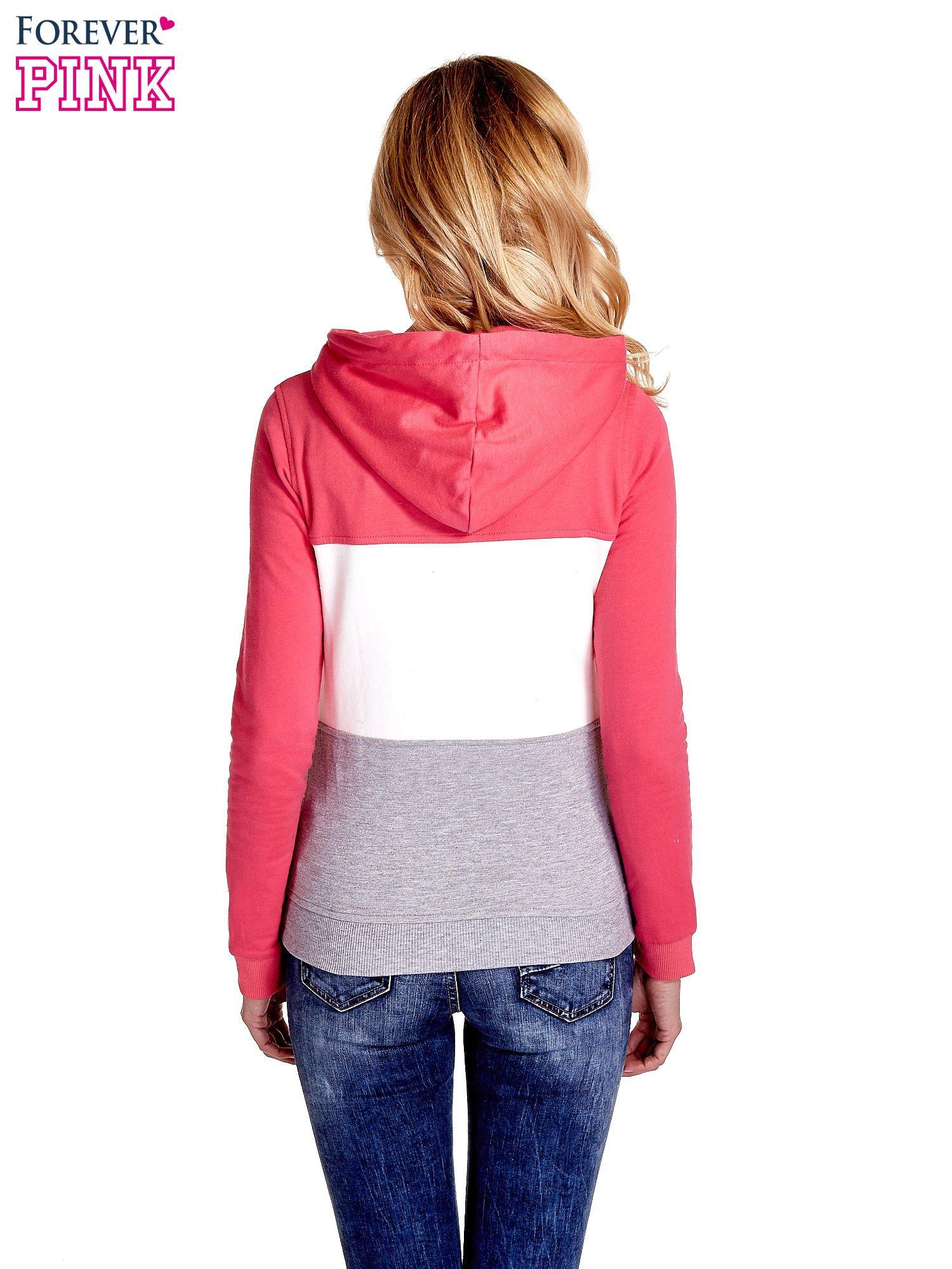 Różowa bluza z kapturem z białym i szarym wykończeniem                                  zdj.                                  6