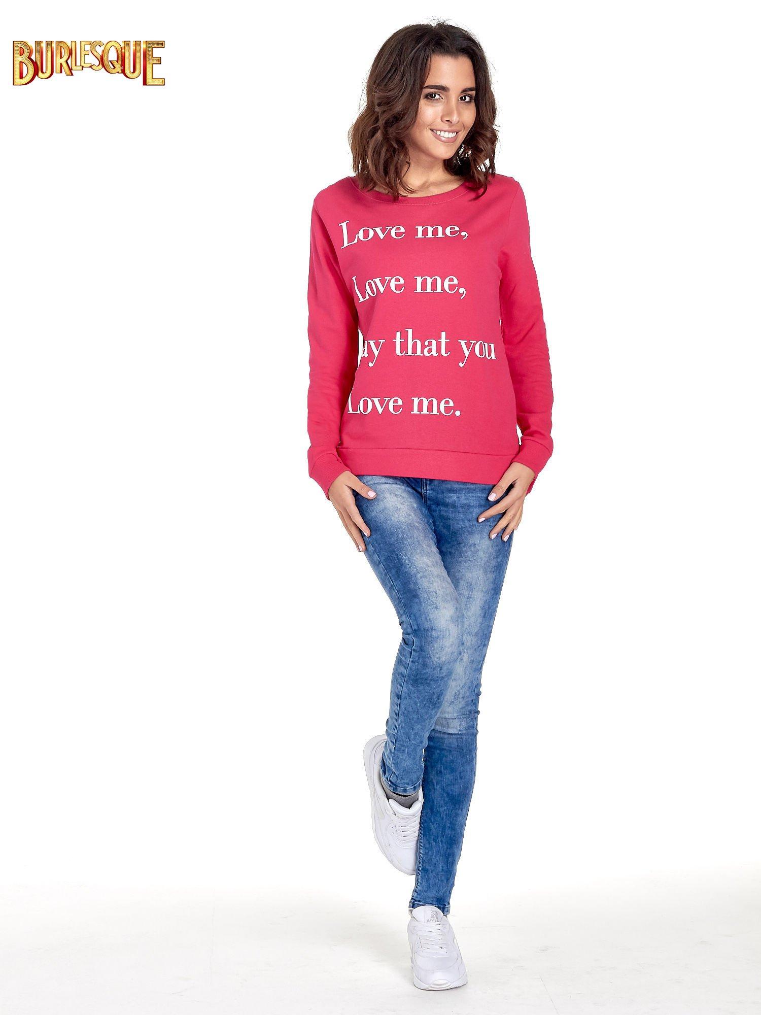 Różowa bluza z napisem LOVE ME i dłuższym tyłem                                  zdj.                                  4