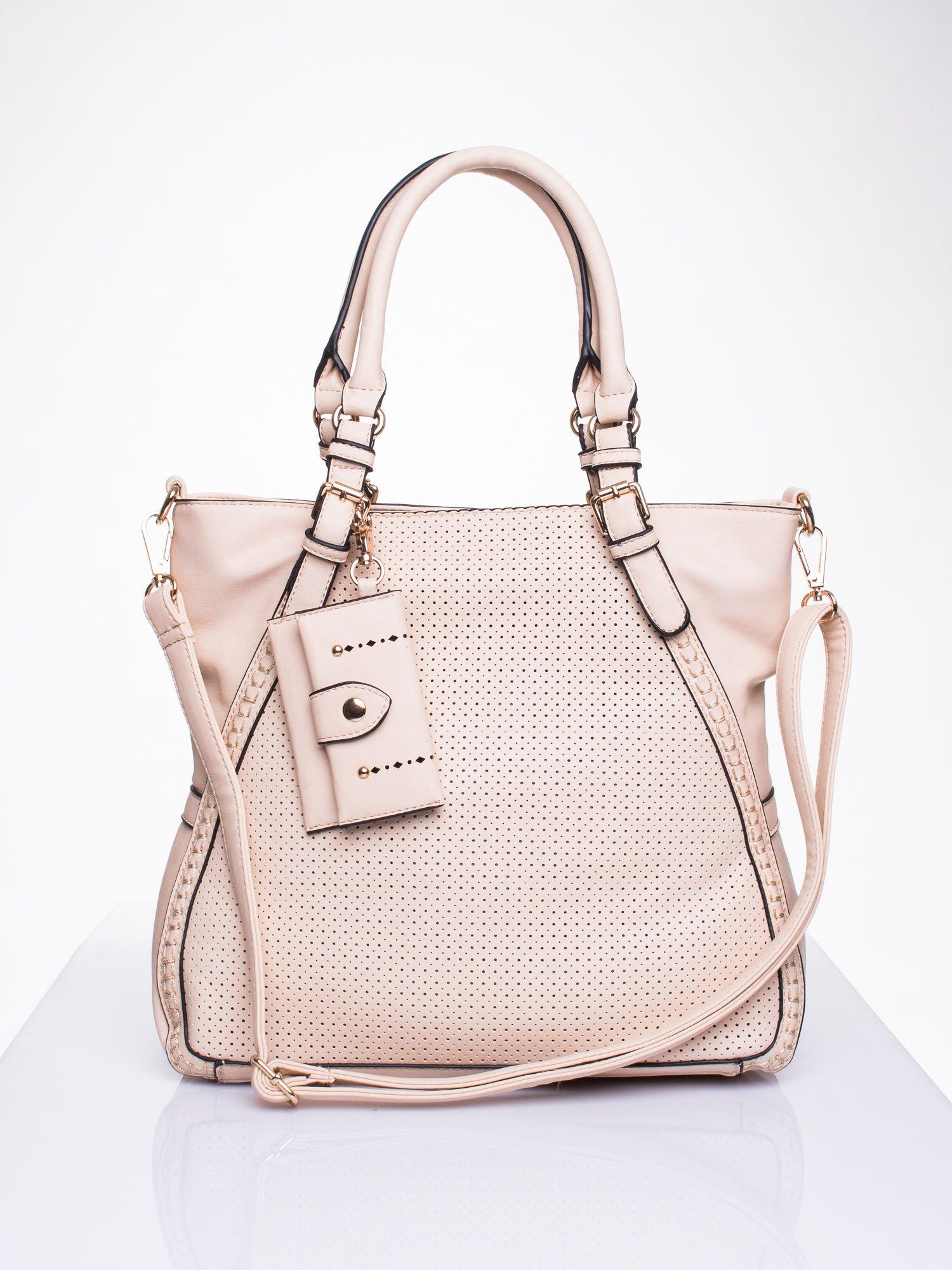 Różowa dziurkowana torba shopper z portfelem                                  zdj.                                  1