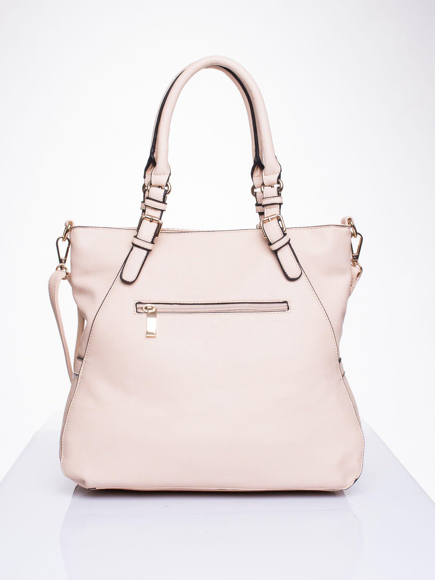 Różowa dziurkowana torba shopper z portfelem                                  zdj.                                  2