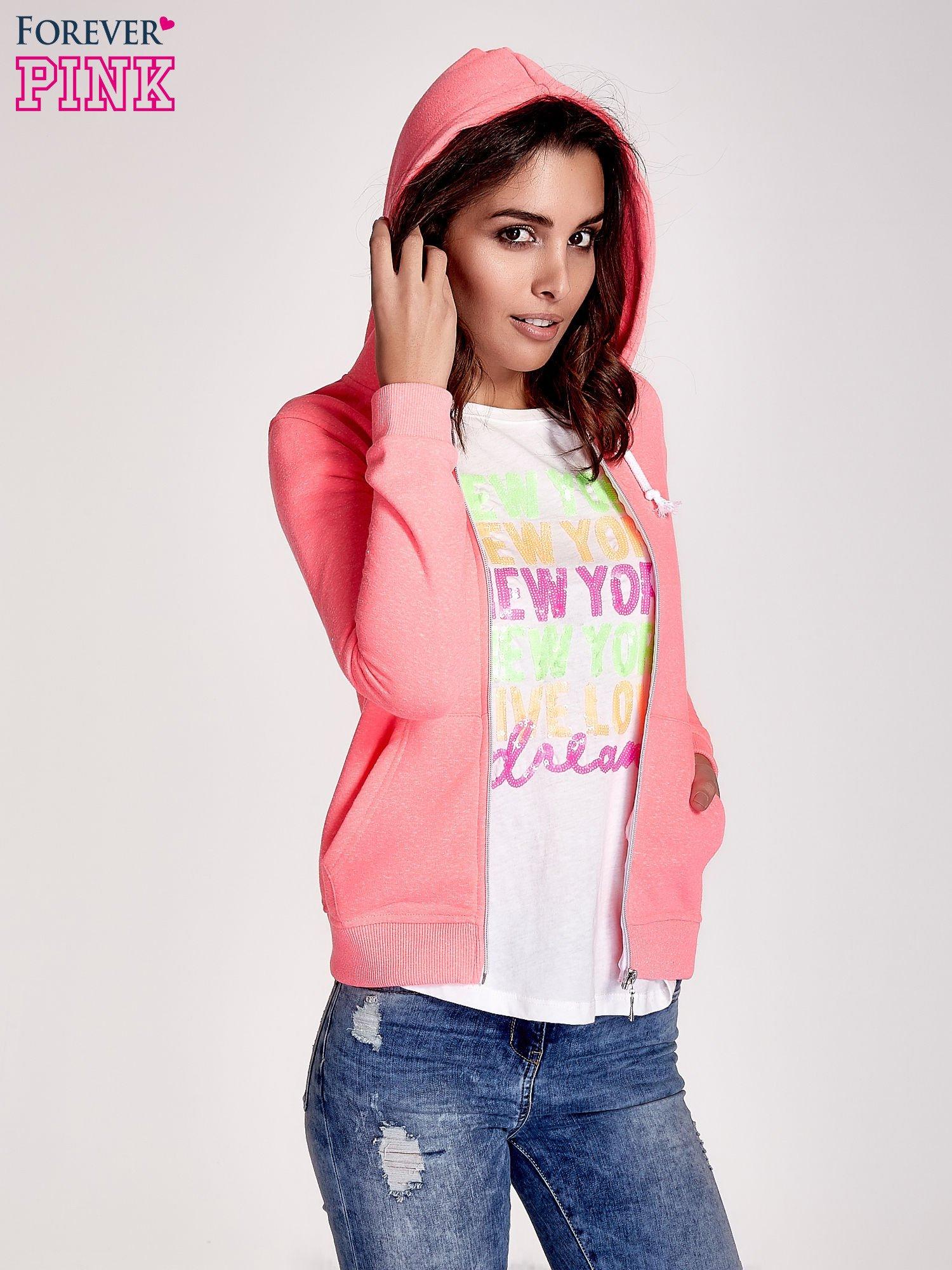 Różowa gładka bluza z kapturem                                  zdj.                                  5