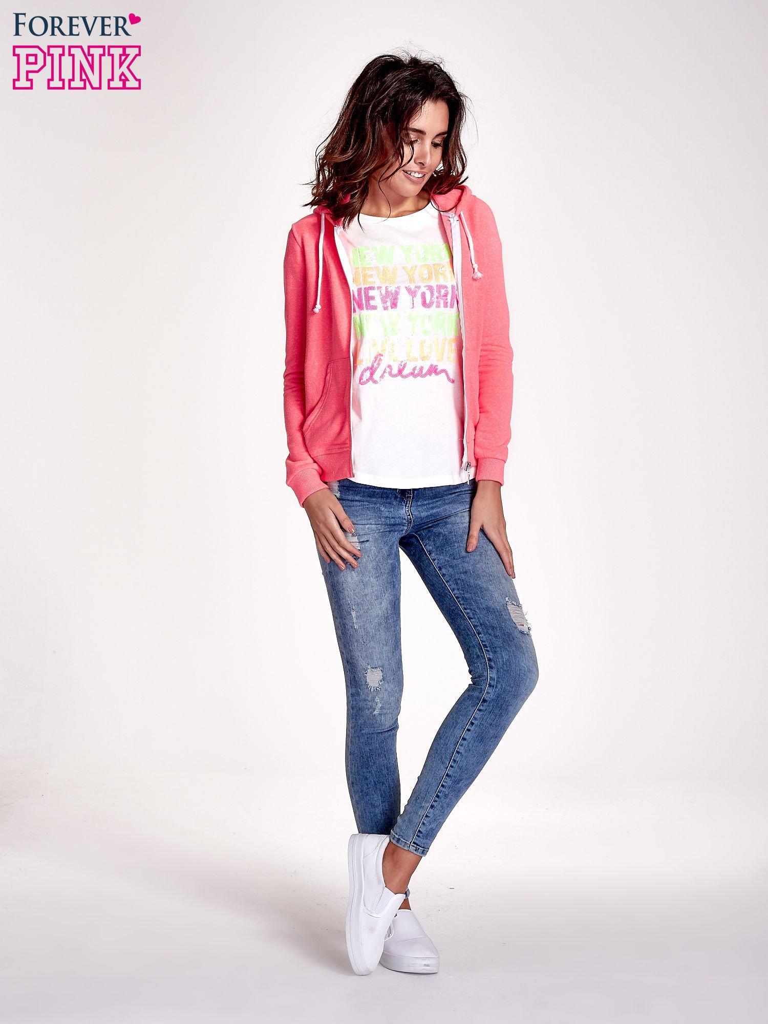 Różowa gładka bluza z kapturem                                  zdj.                                  2
