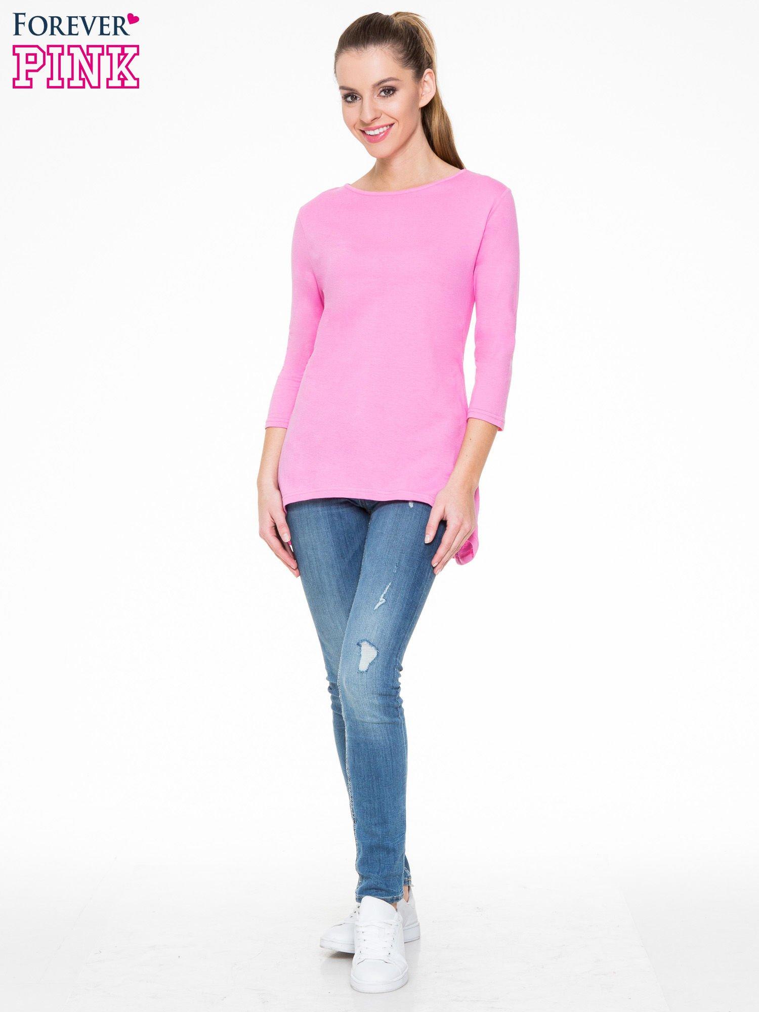 Różowa gładka bluzka z dłuższym tyłem                                  zdj.                                  2