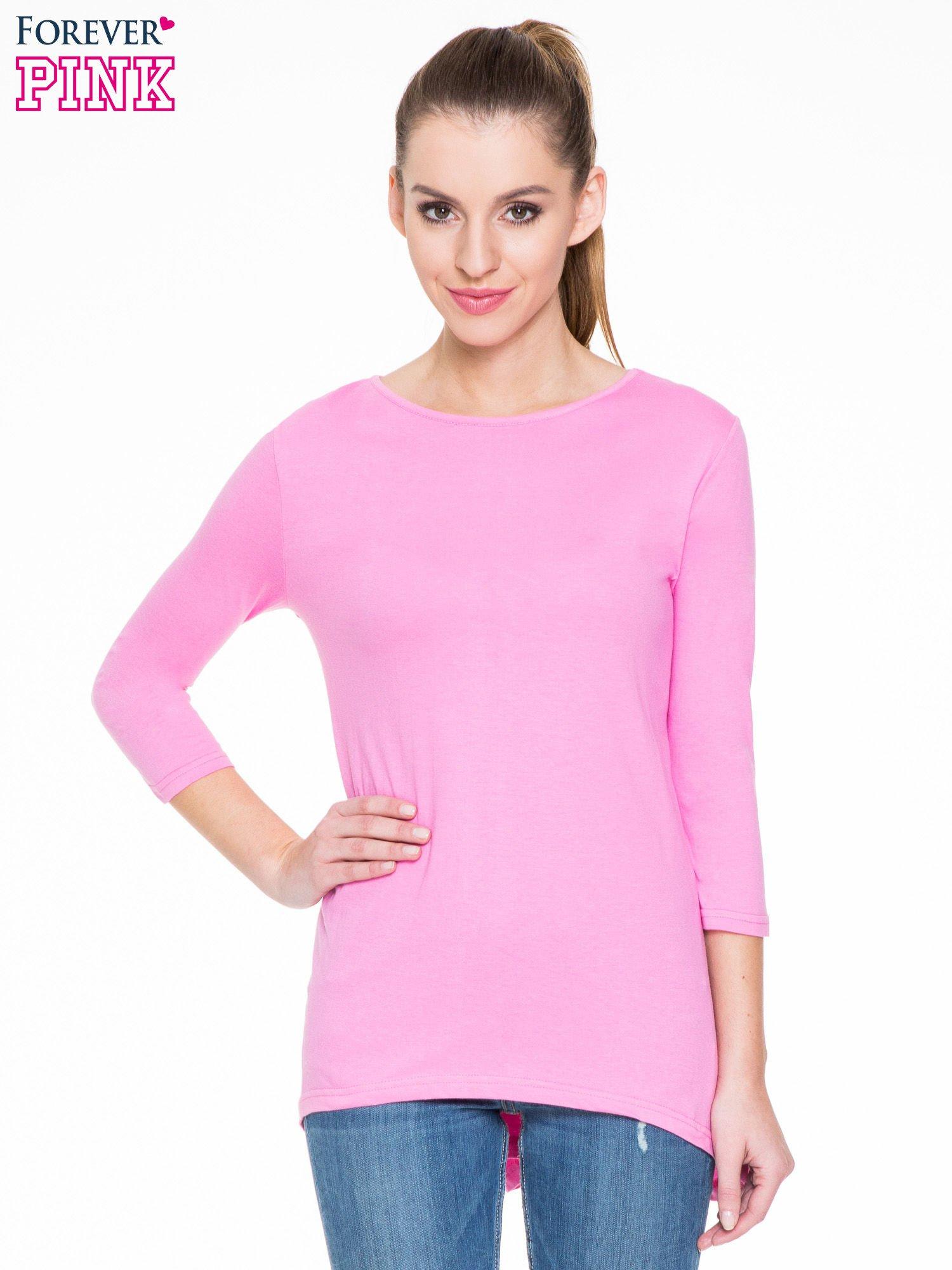Różowa gładka bluzka z dłuższym tyłem                                  zdj.                                  1