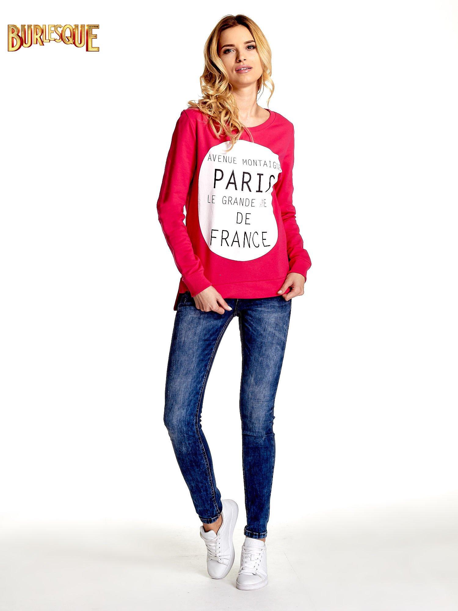 Rózowa klasyczna bluza damska z napisem AVENUE MONTAIGNE                                  zdj.                                  4