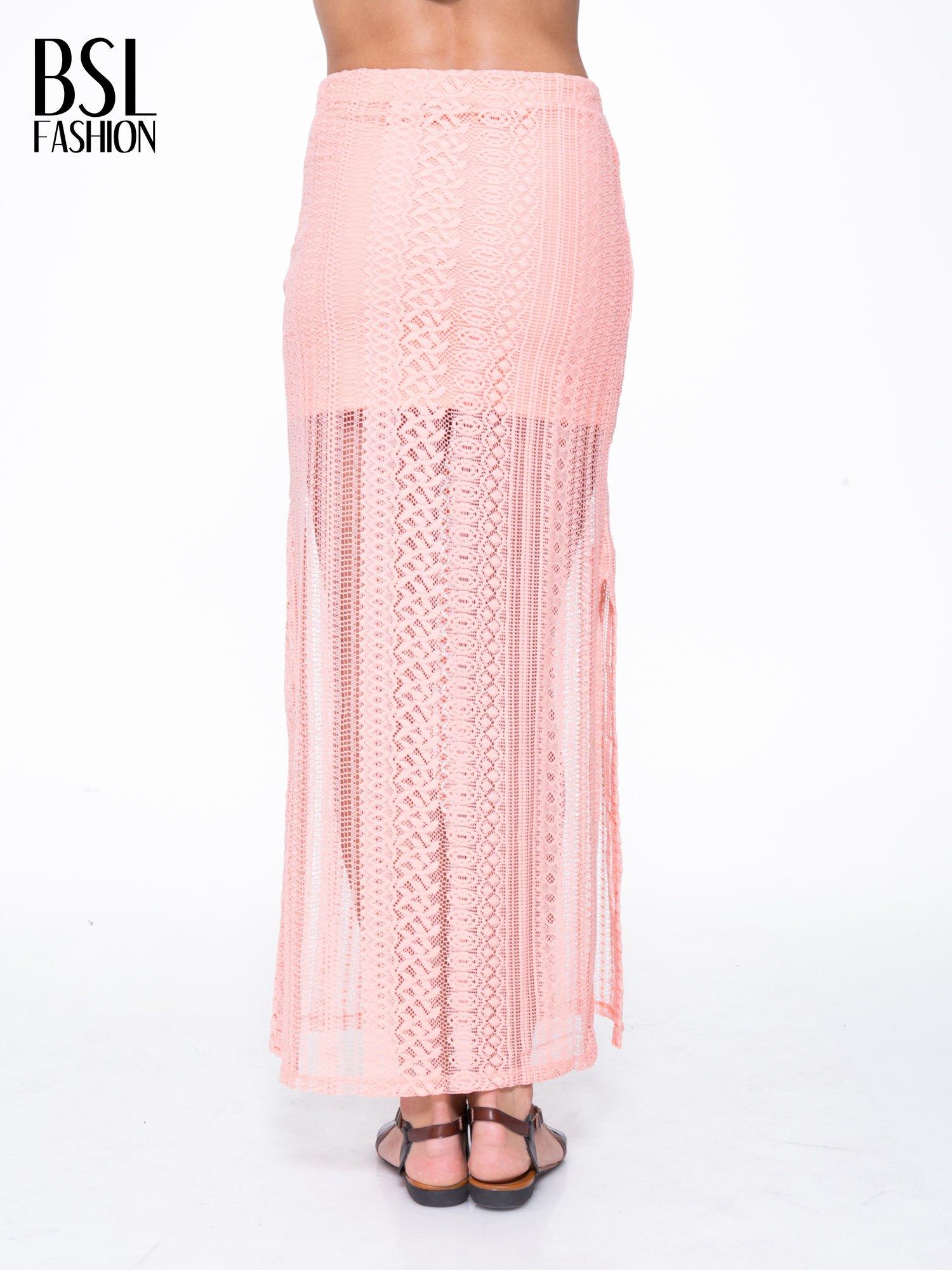 Różowa koronkowa spódnica maxi z rozporkiem                                  zdj.                                  4