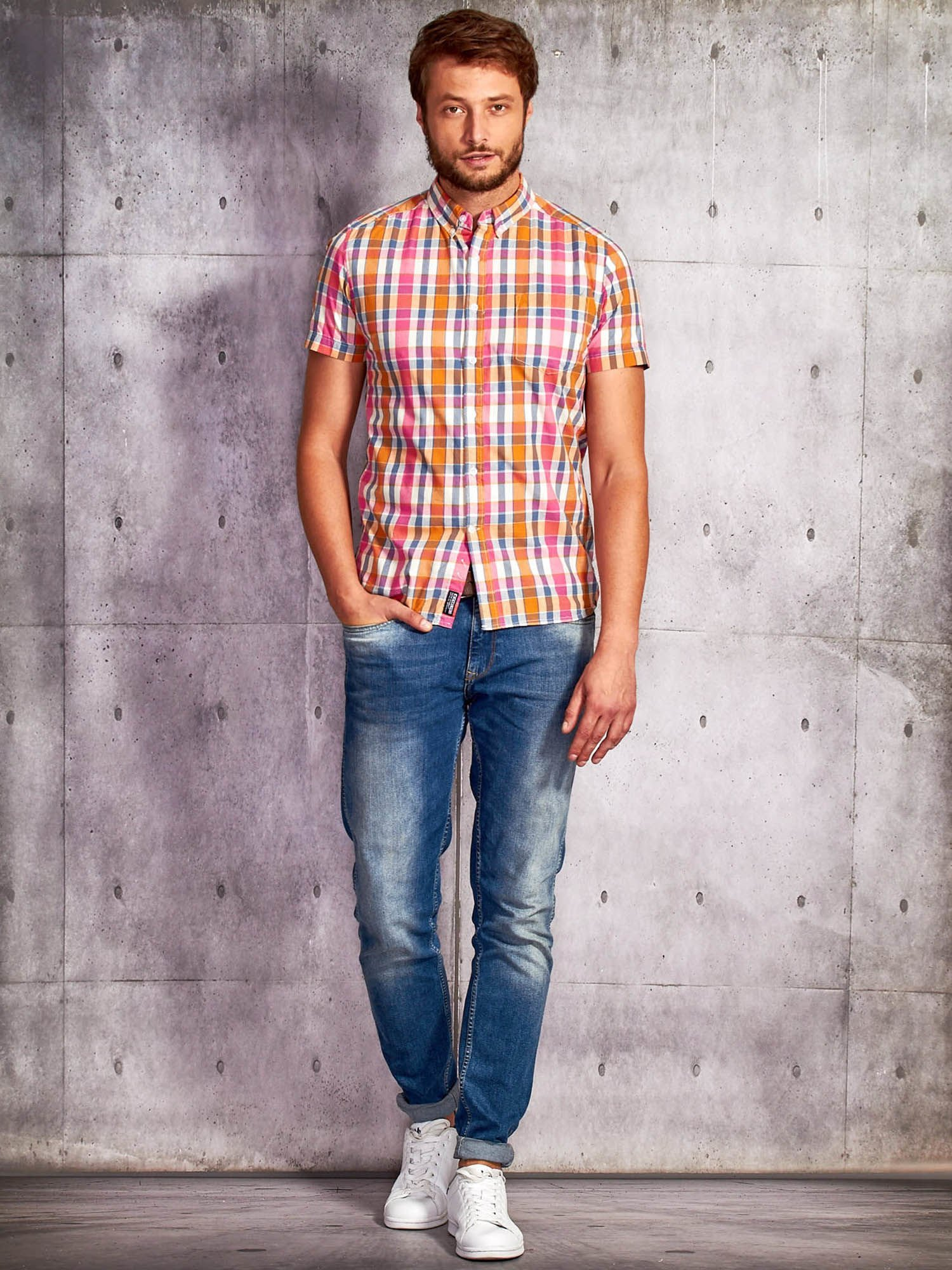 Różowa koszula męska w kratę Funk n Soul                                  zdj.                                  4