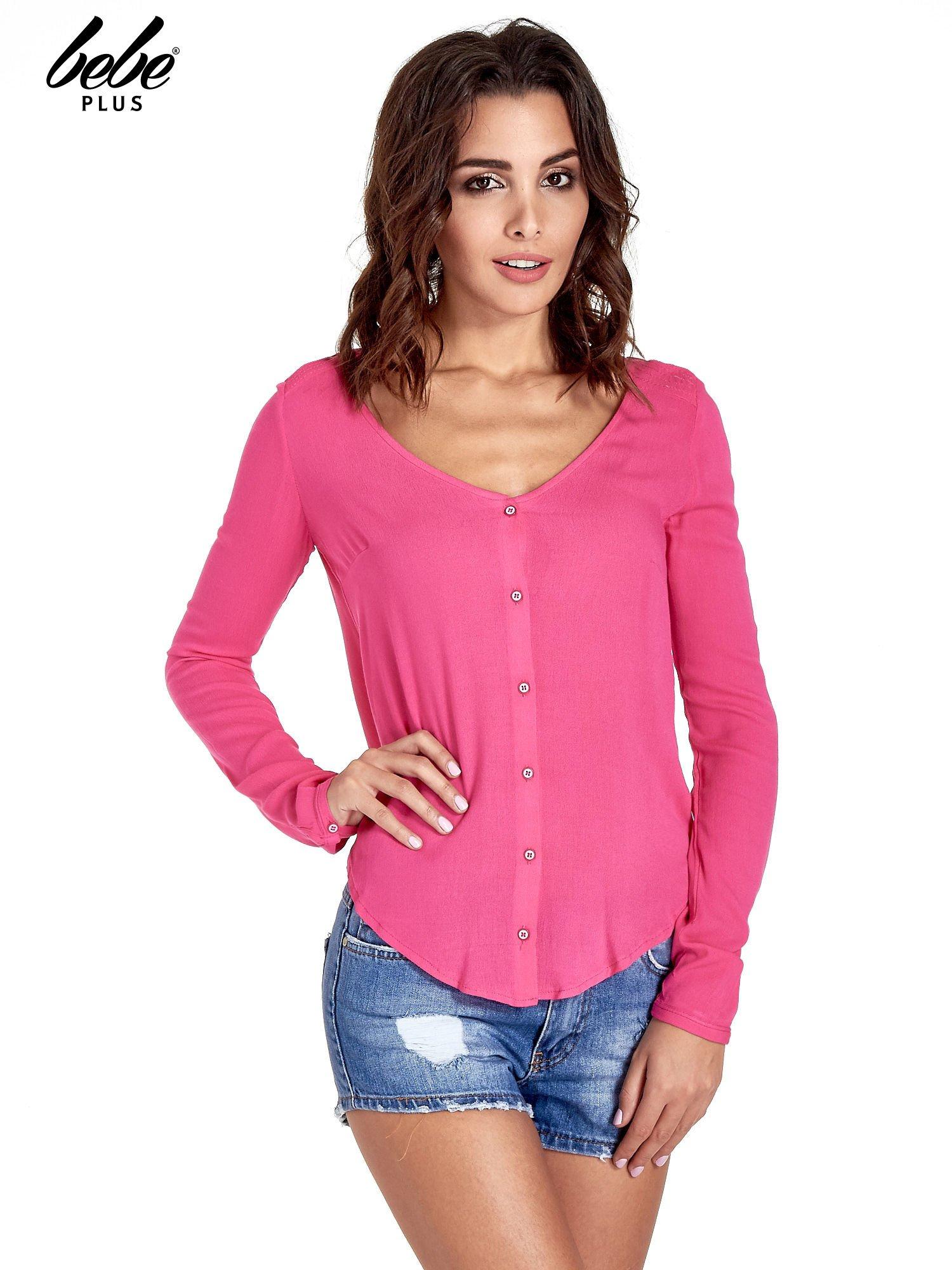 Różowa koszula z kontrafałdą z tyłu                                  zdj.                                  1