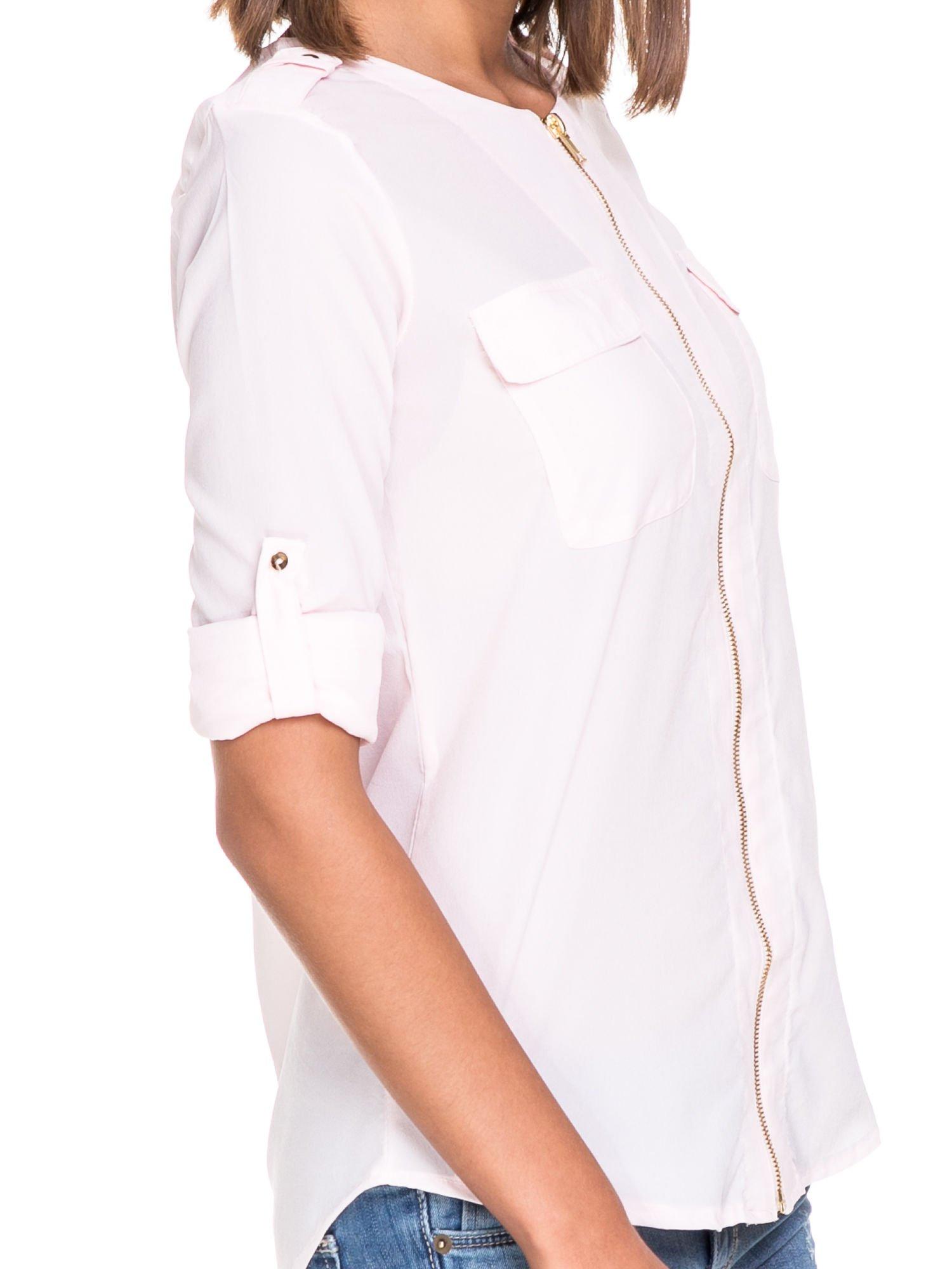 Różowa koszula ze złotym suwakiem i kieszonkami                                  zdj.                                  6