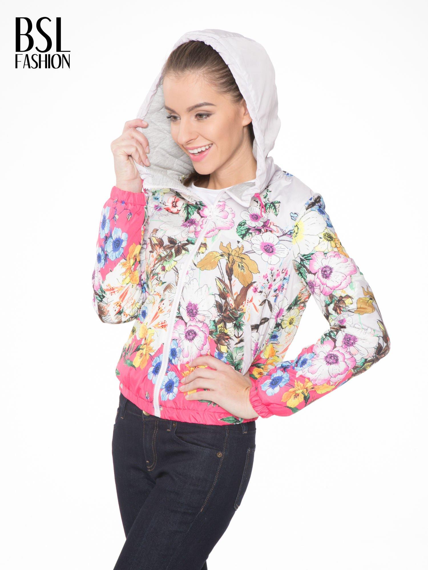 Różowa kwiatowa kurtka bomber jacket z kapturem                                  zdj.                                  5