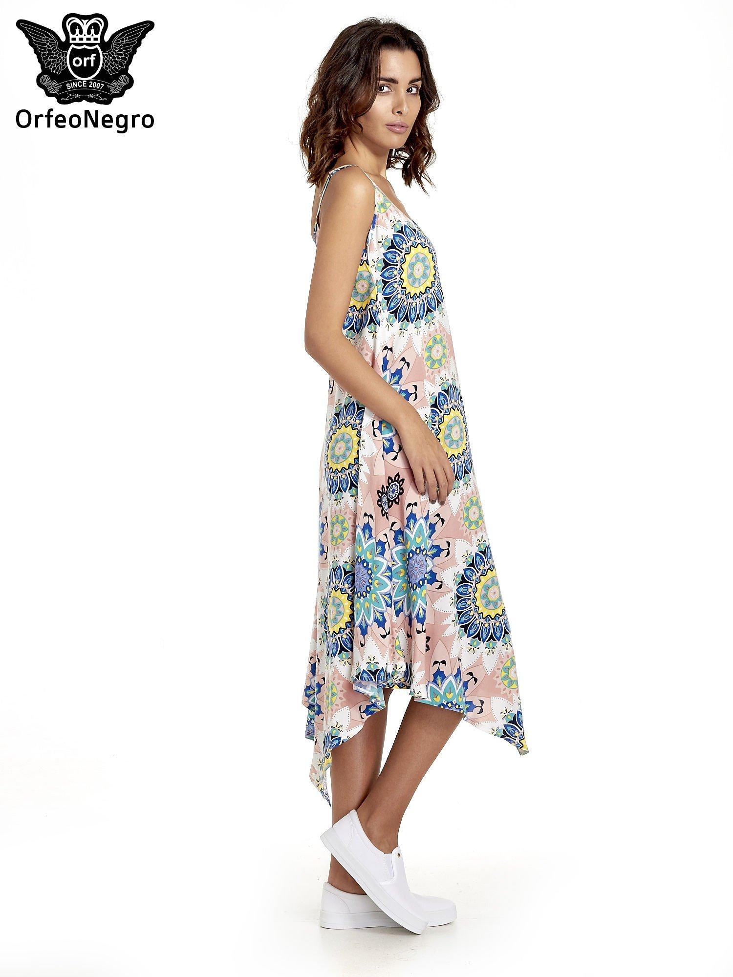 Rożowa letnia sukienka w kwiaty                                  zdj.                                  3