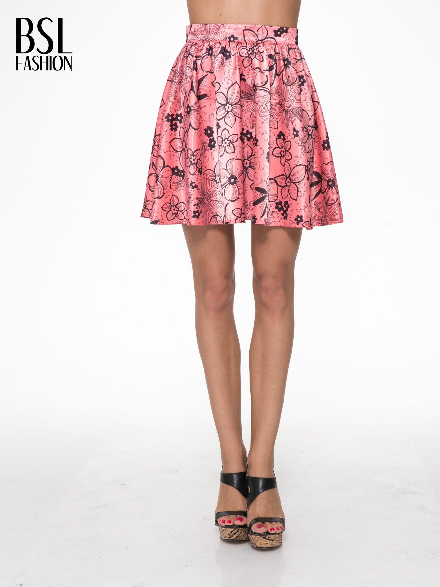 Różowa rozkloszowana spódnica skater w kwiaty                                  zdj.                                  1