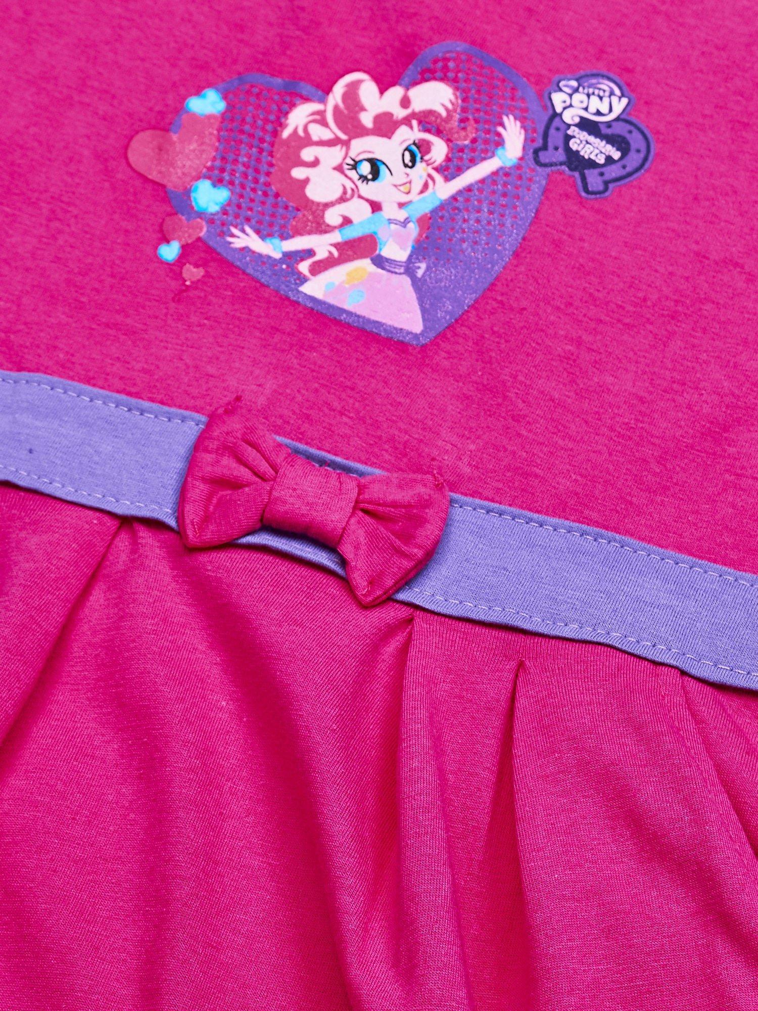 Różowa sukienka dla dziewczynki z kokardką i kieszonkami MY LITTLE PONY                                  zdj.                                  3