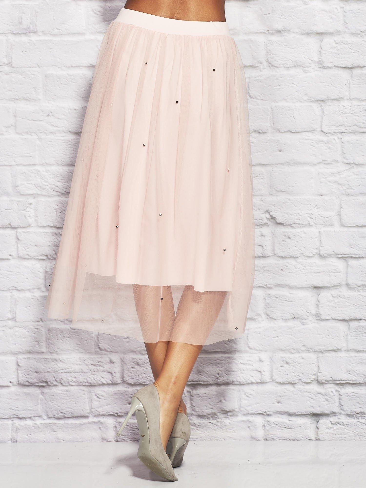 3c6b921267 Różowa tiulowa spódnica midi z perełkami - Spódnica rozkloszowana - sklep  eButik.pl