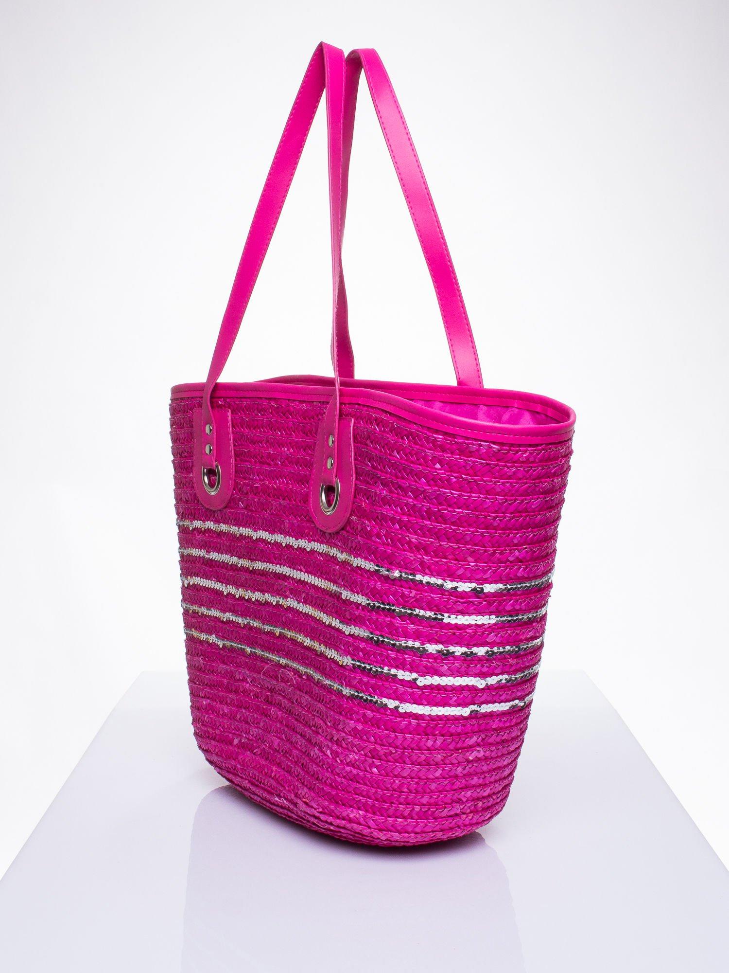 Różowa torba koszyk plażowy z cekinami                                  zdj.                                  2