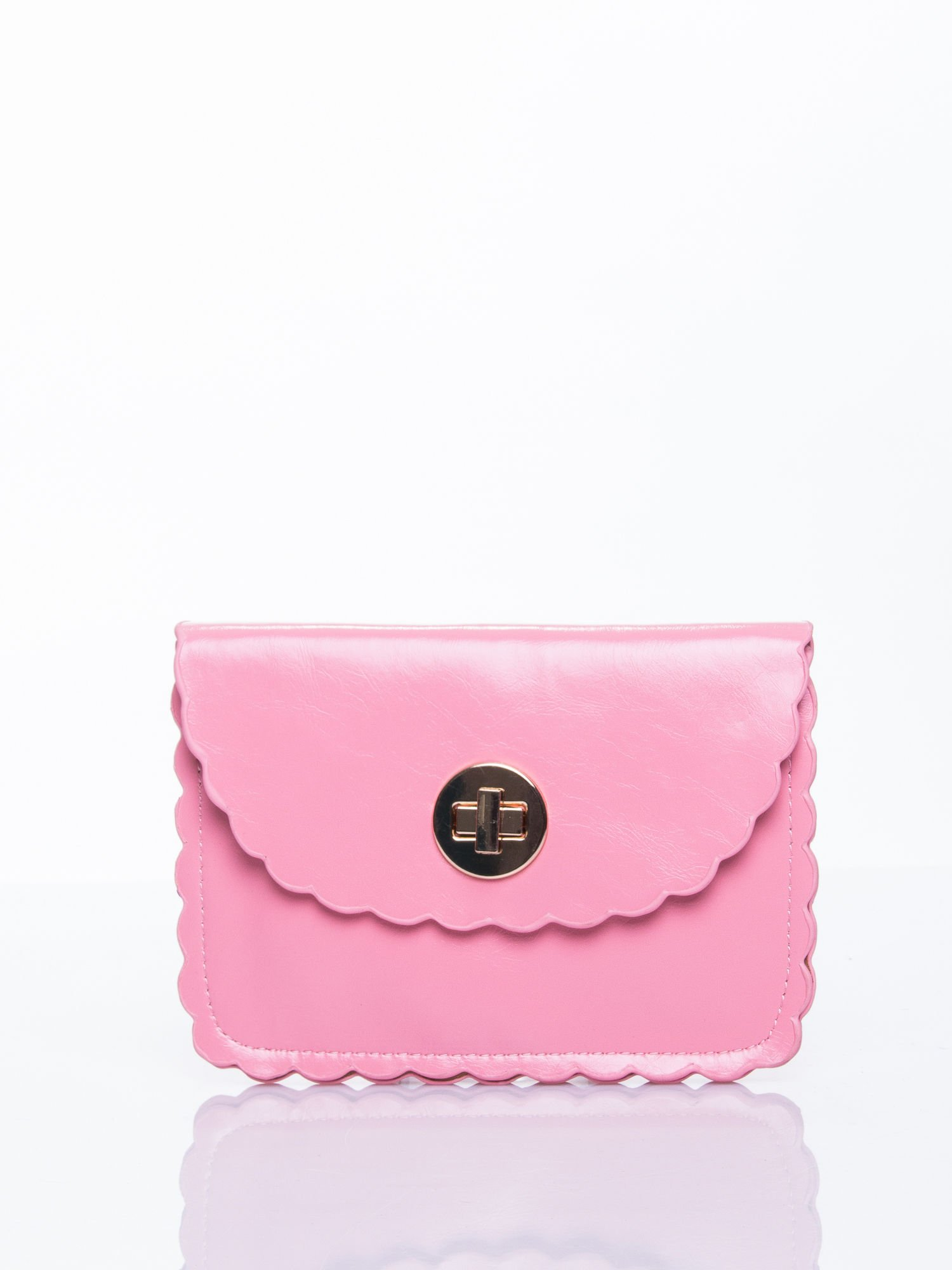Różowa torebka listonoszka z falowanym wykończeniem                                  zdj.                                  1